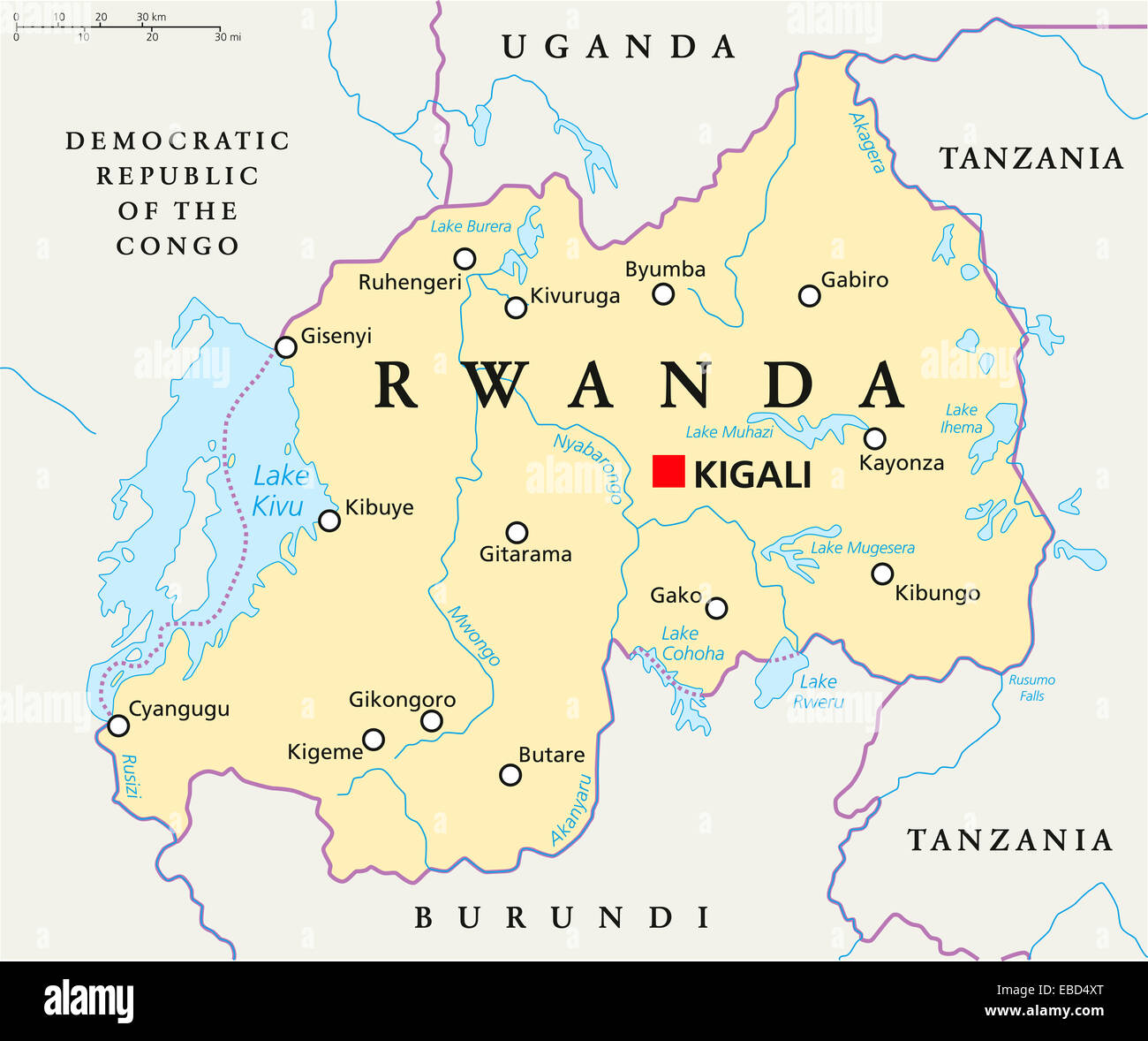Political Map Of Rwanda Creativehobby Store