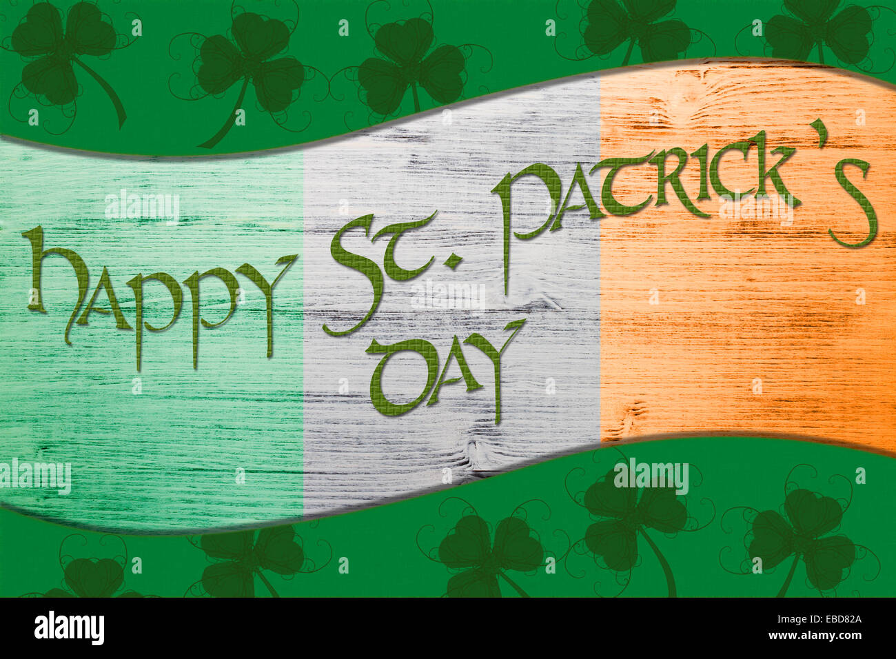 Green St. Patrick's Day greeting card with clover, border and Text - Stock Image