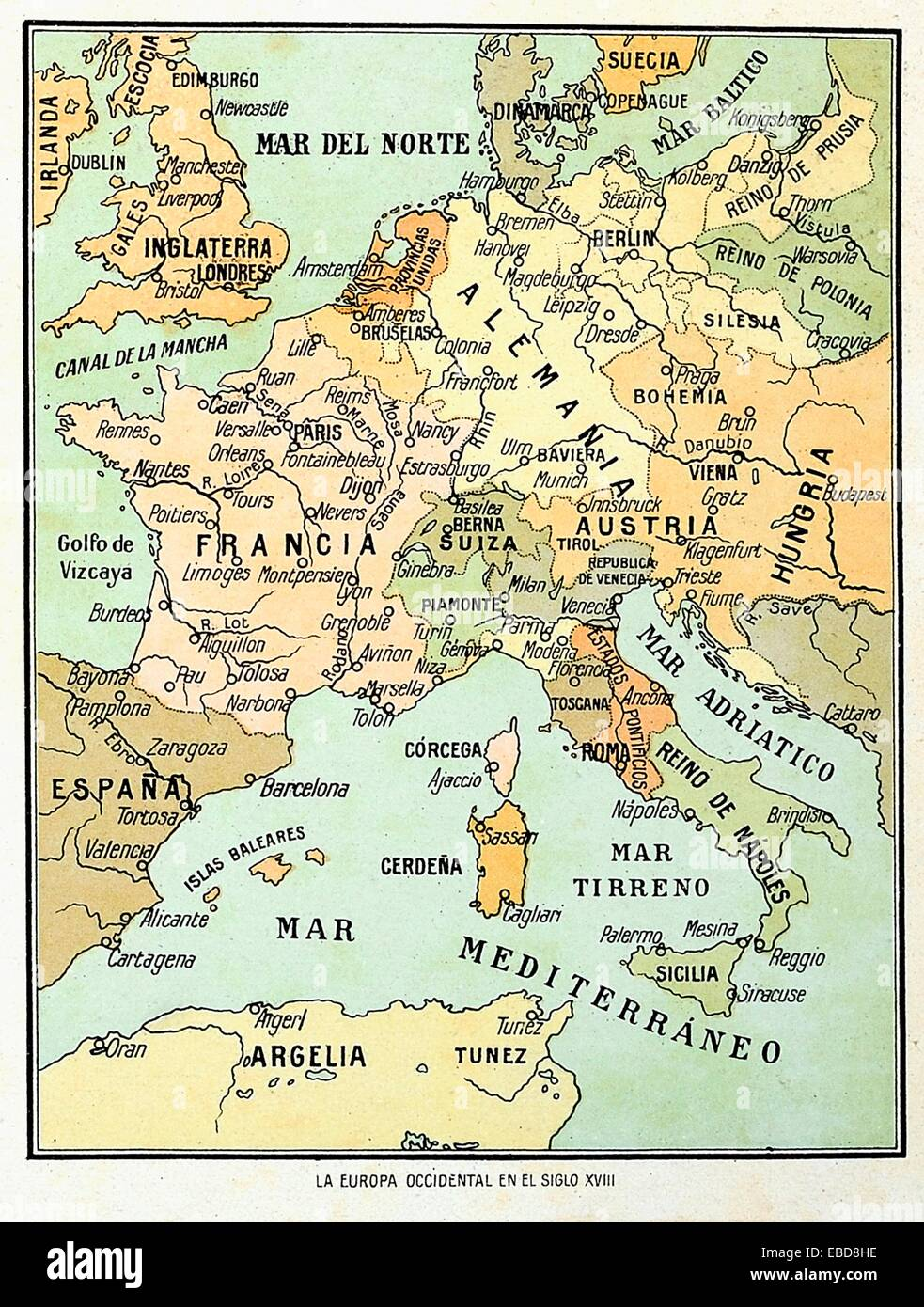 Map Of Western Europe In The 18th Century   Stock Image