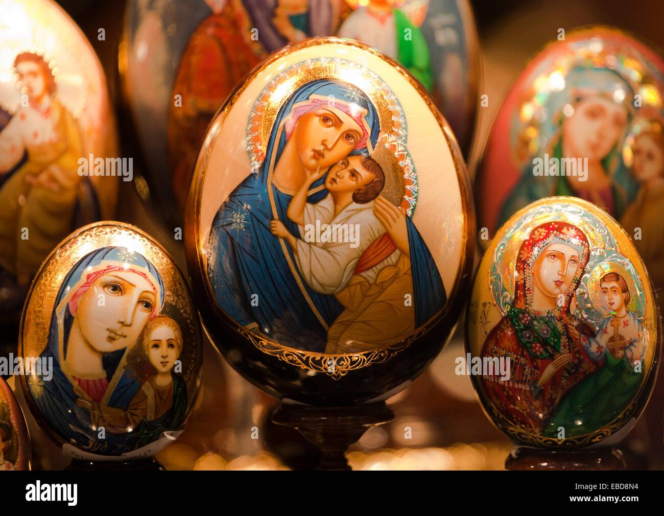 Virgin Mary and Child Jesus, painted eggs decorated with religious  patterns, Mala Strana,