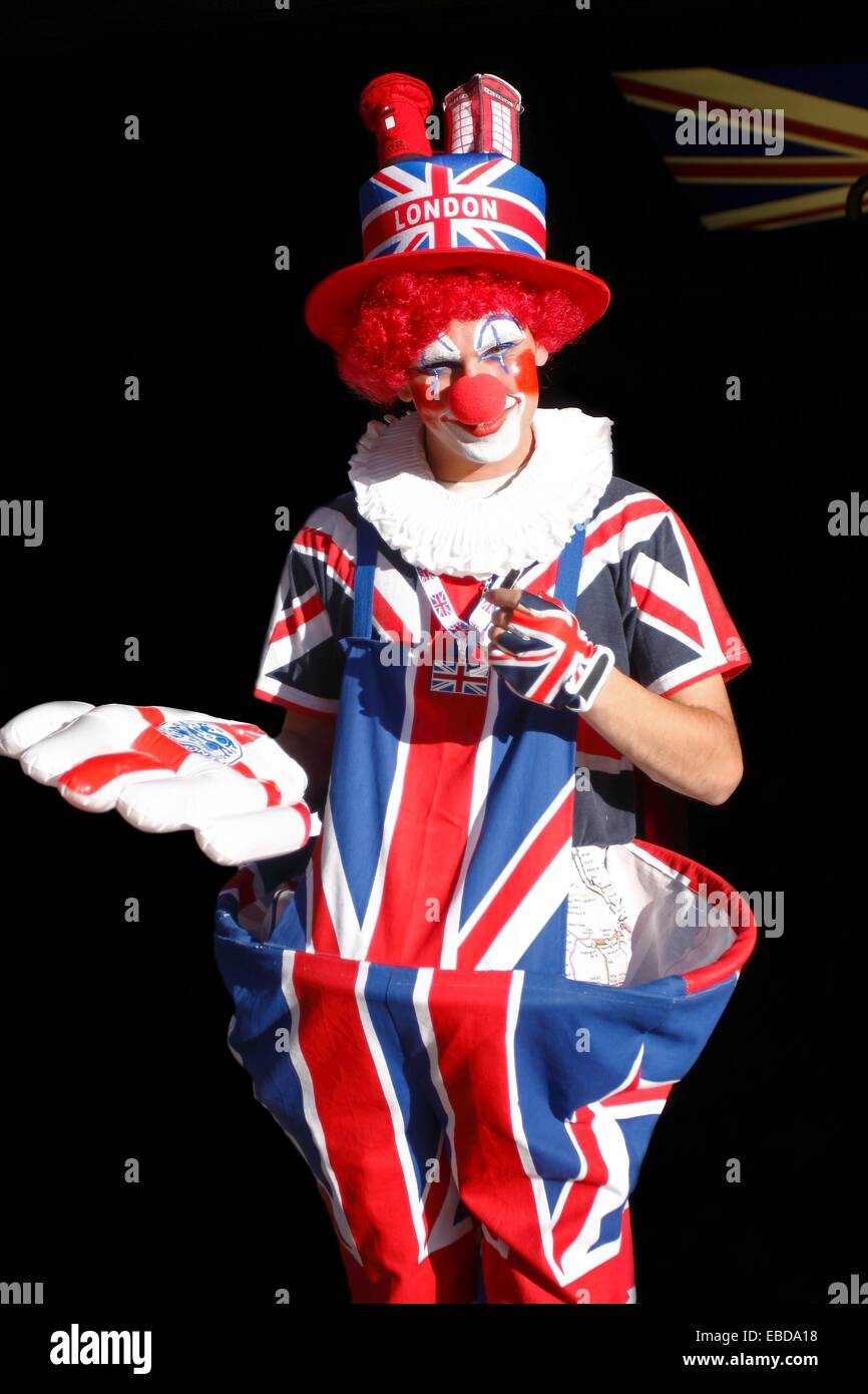 English clown in Picadilly, London, UK - Stock Image