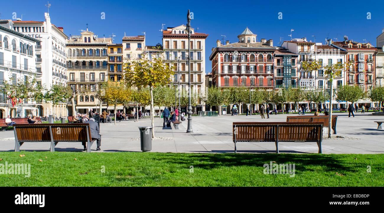 Plaza del Castillo in Pamplona city centre, Navarre, Spain Stock Photo