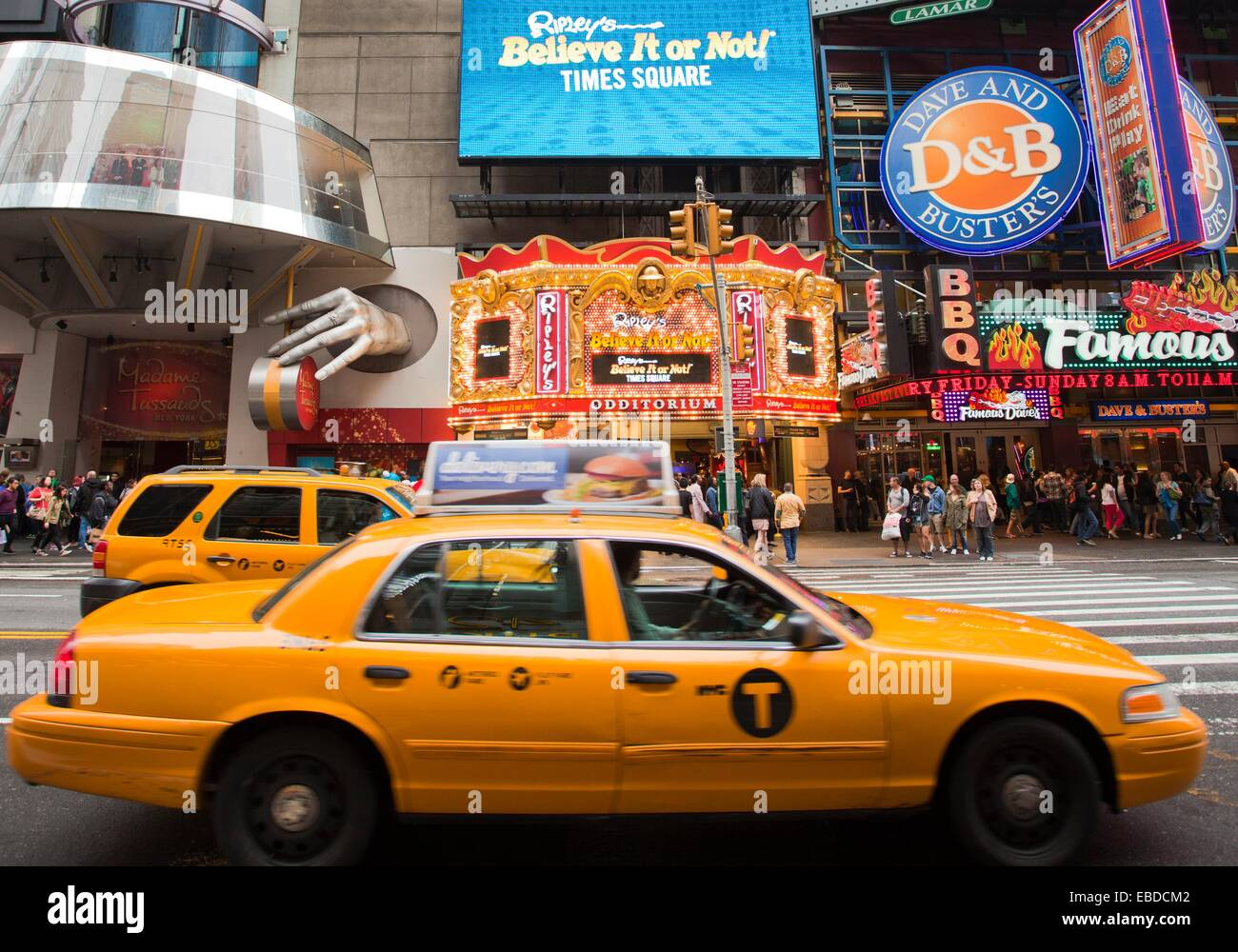 At left Madame Tussauds Wax Museum New York, 42nd street, 7th avenue, Theater District-Times Square, Midtown, Manhattan, - Stock Image