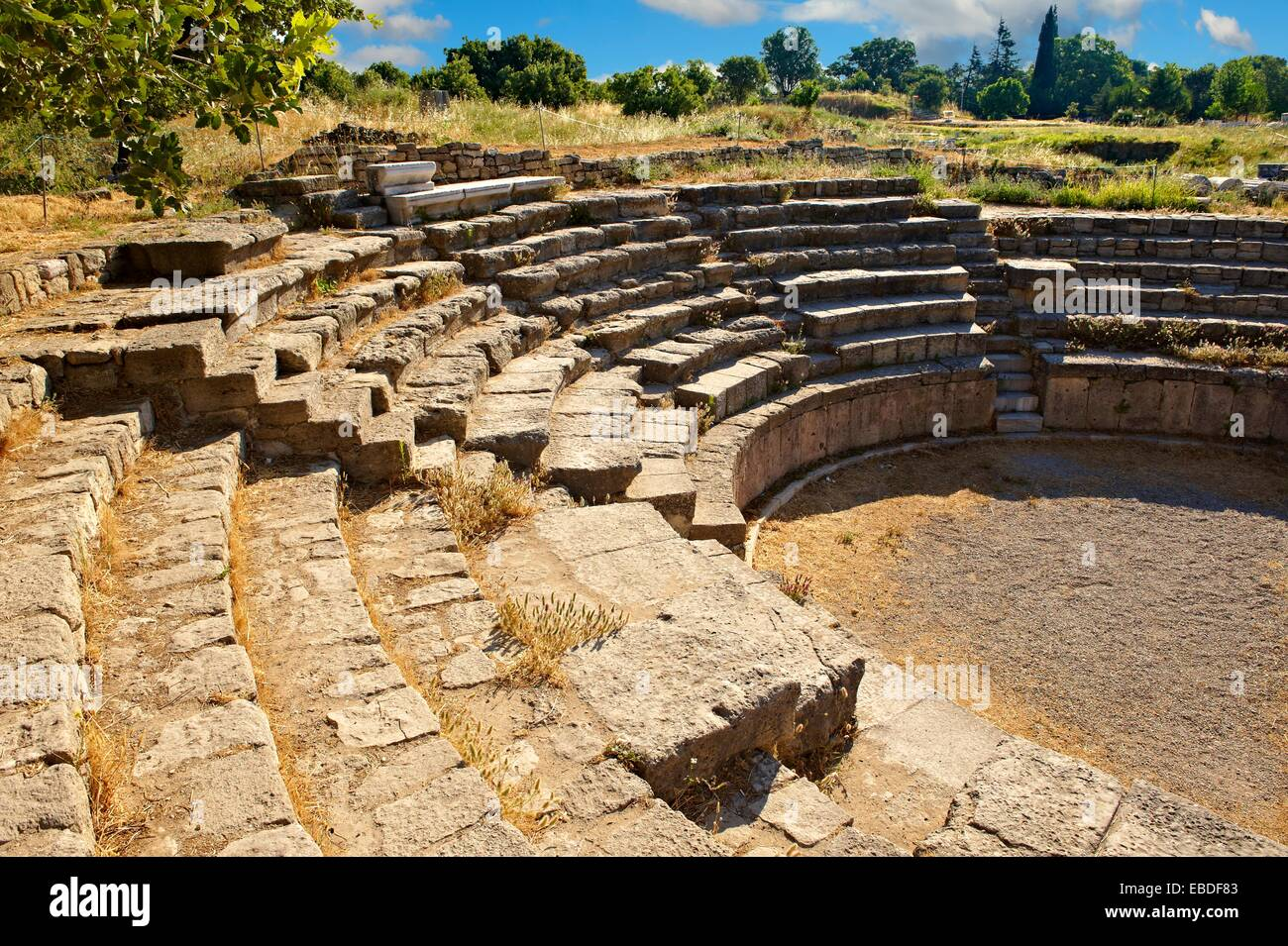 Roman Amphitheatre of Troy  Troy archaeological site, A UNESCO World Heritage Site, Turkey - Stock Image