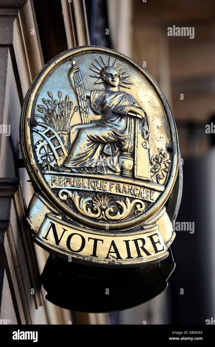 Lovely Notary´s Office In Paris,gold Sign, France,Europe   Stock Image