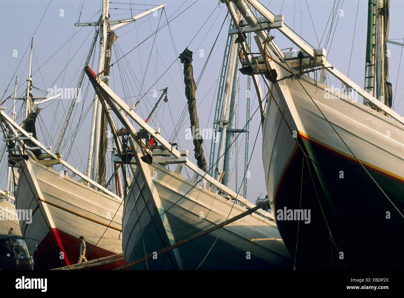 The old port for sailing vessels in Jakarta, Sunda Kelapa harbour, Java, Indonesia - Stock Image