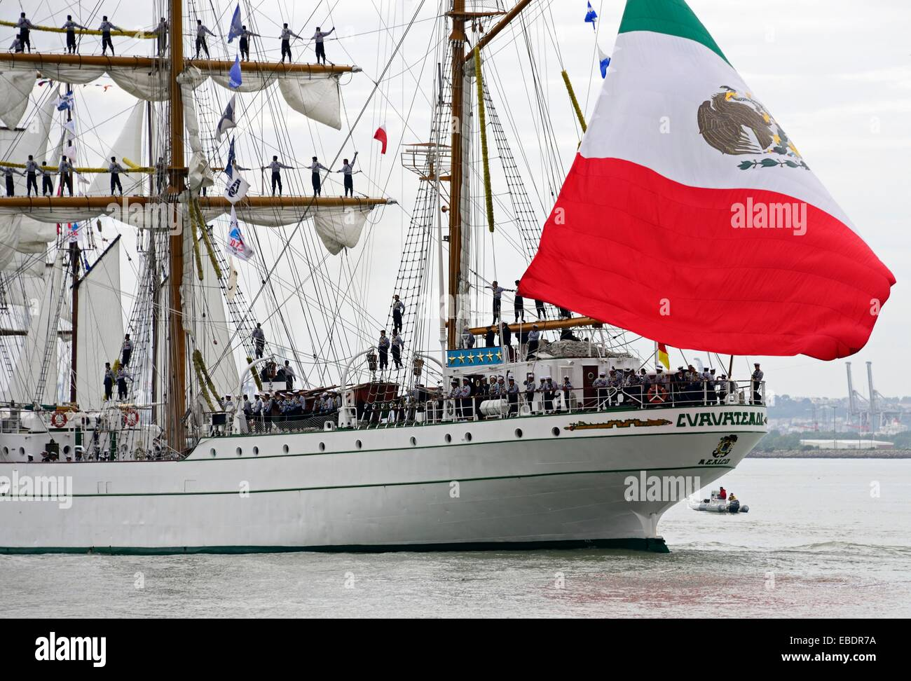 Armada 2013 - cruise of biggest sailing vessels in the world on Seine river from Rouen to Atlantic Ocean, here ´Cuauhtémoc´ - Stock Image