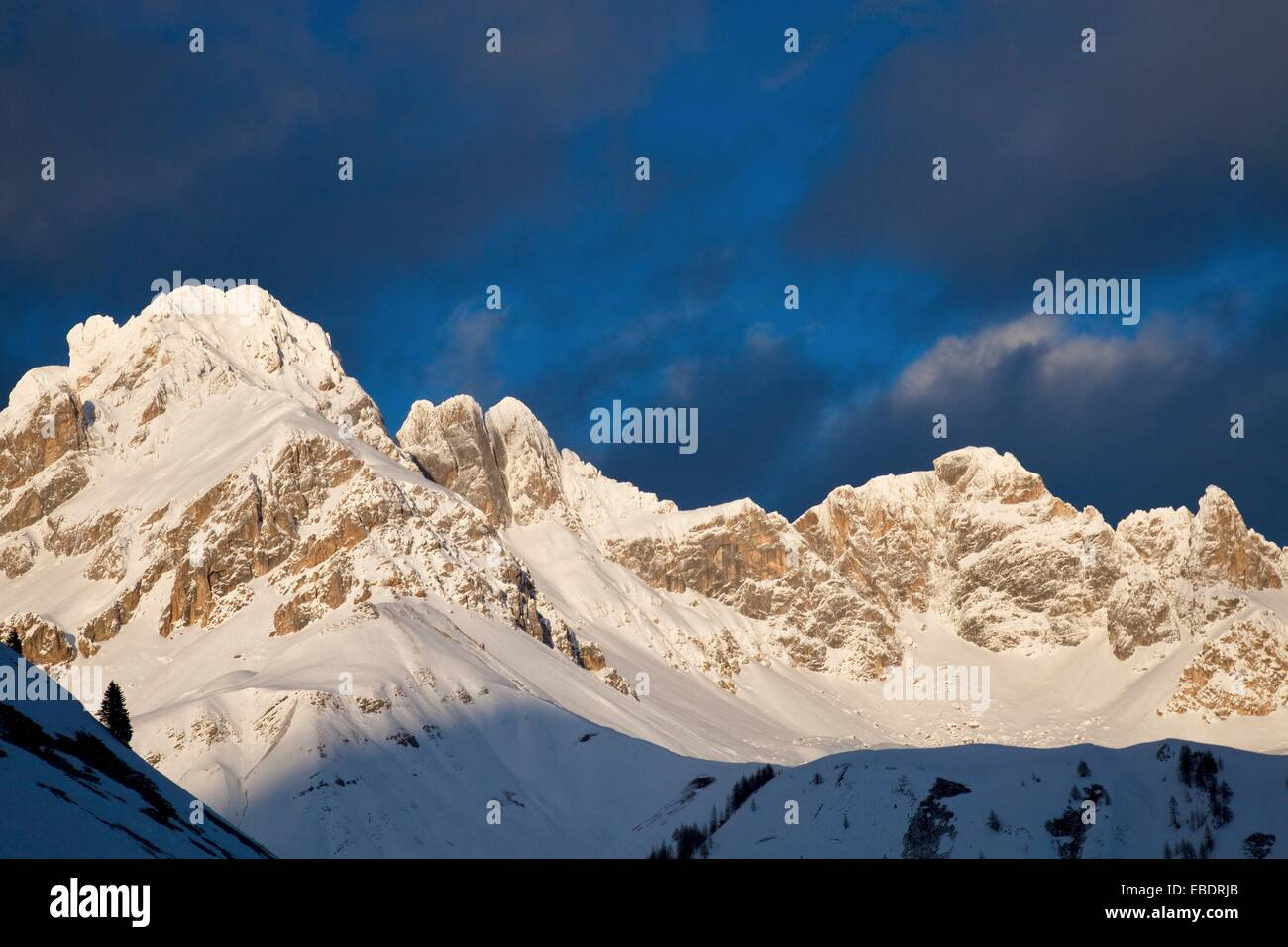 Mountains covered with snow near Fuciade hut at sunset, San Pellegrino pass, Trentino Alto Adige, Italy, Europe Stock Photo