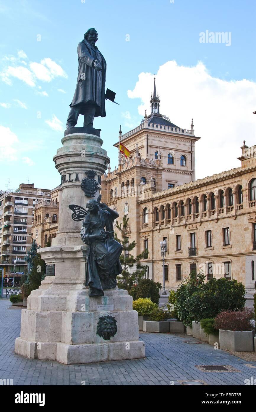 Place and Statue of Zorrilla, Academia de Caballeria, Valladolid, Castile and León, Spain - Stock Image