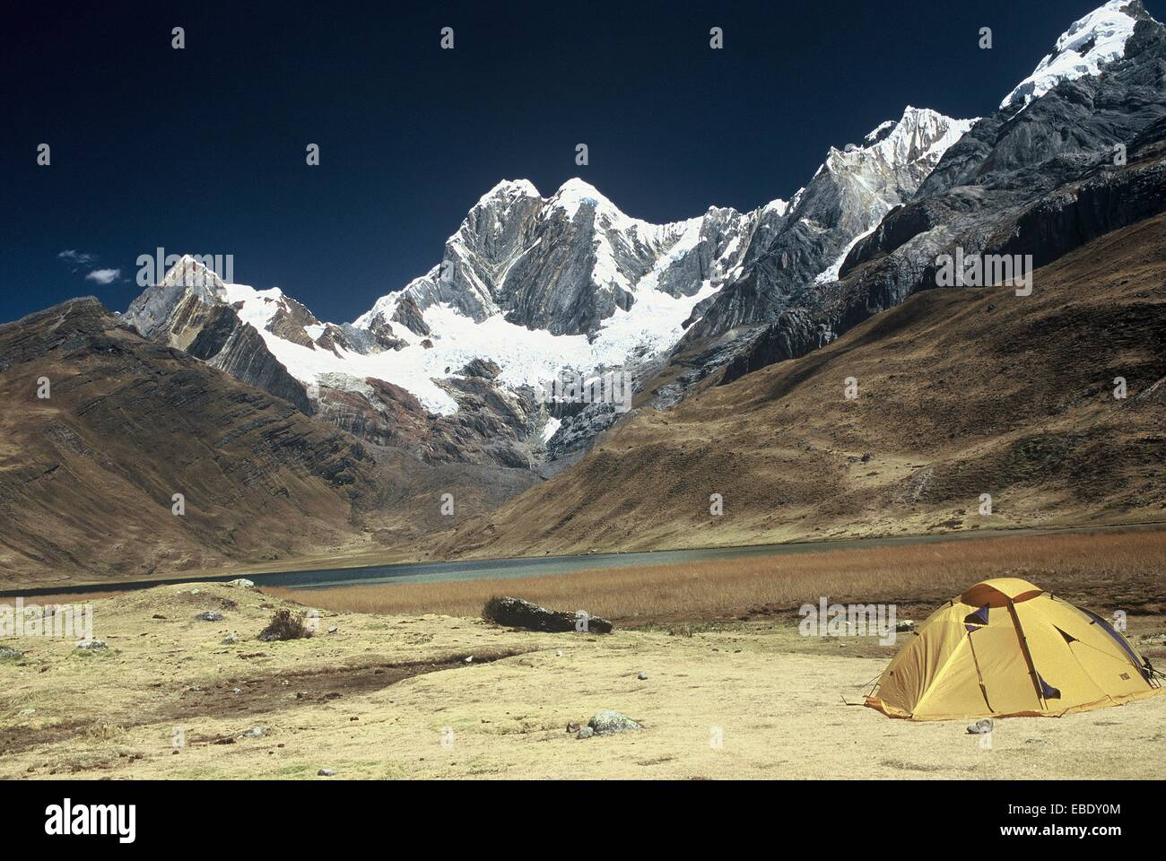 Mount Jirishanca 6094 meters, in the range of Huayhuash, from the lagoon Mitucocha, the Andes. Peru. - Stock Image