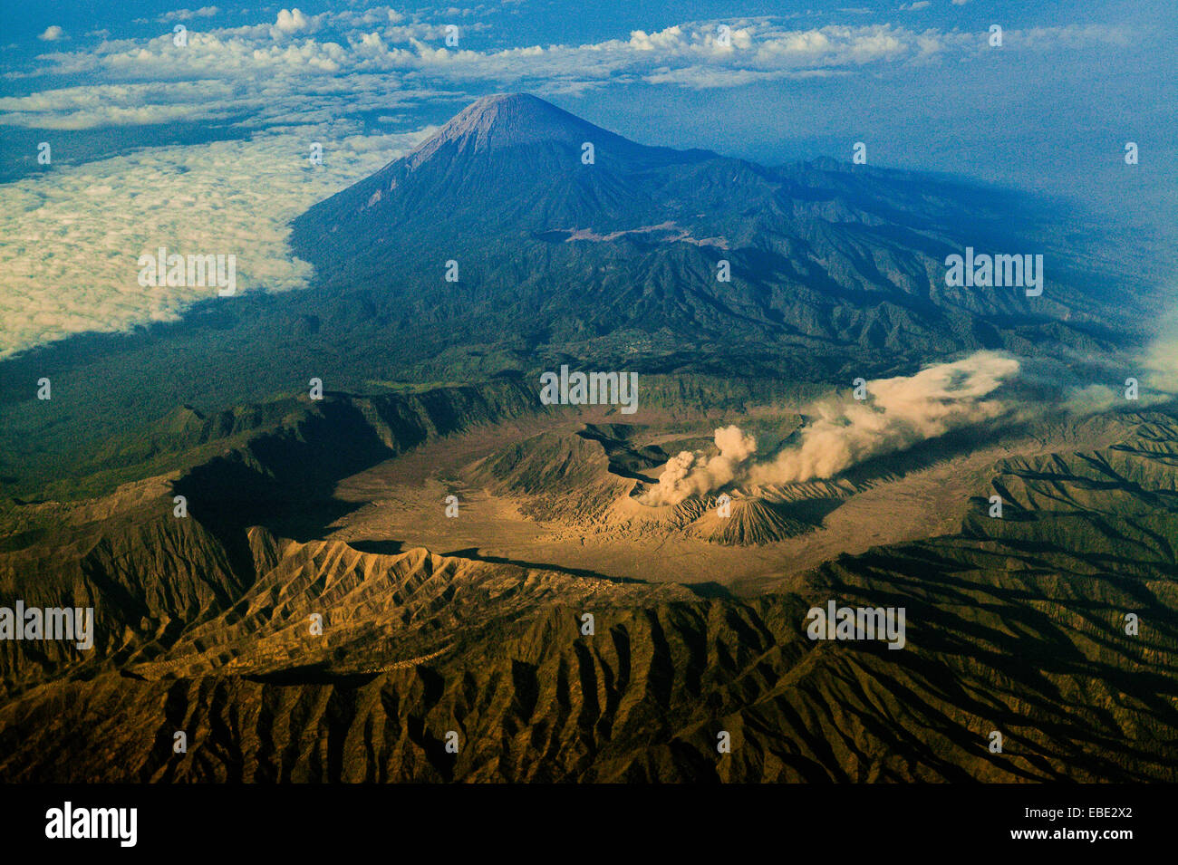 Bromo Tengger Semeru National Park seen from above. Mount Semeru (background) is the highest mountain in Java Island, - Stock Image