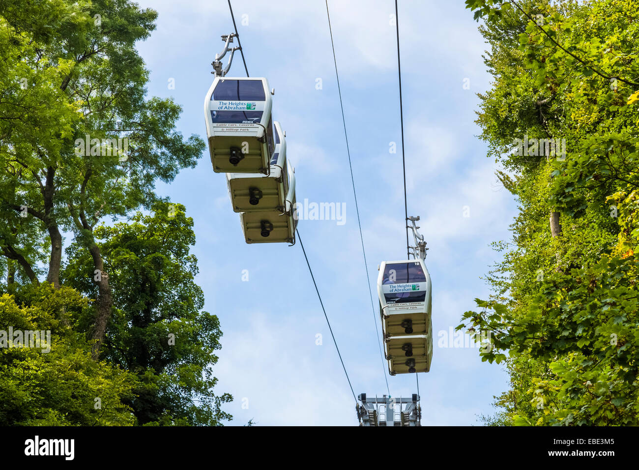 Cable cars on the Heights of Abraham, Matlock Bath, Derbyshire, England, UK - Stock Image