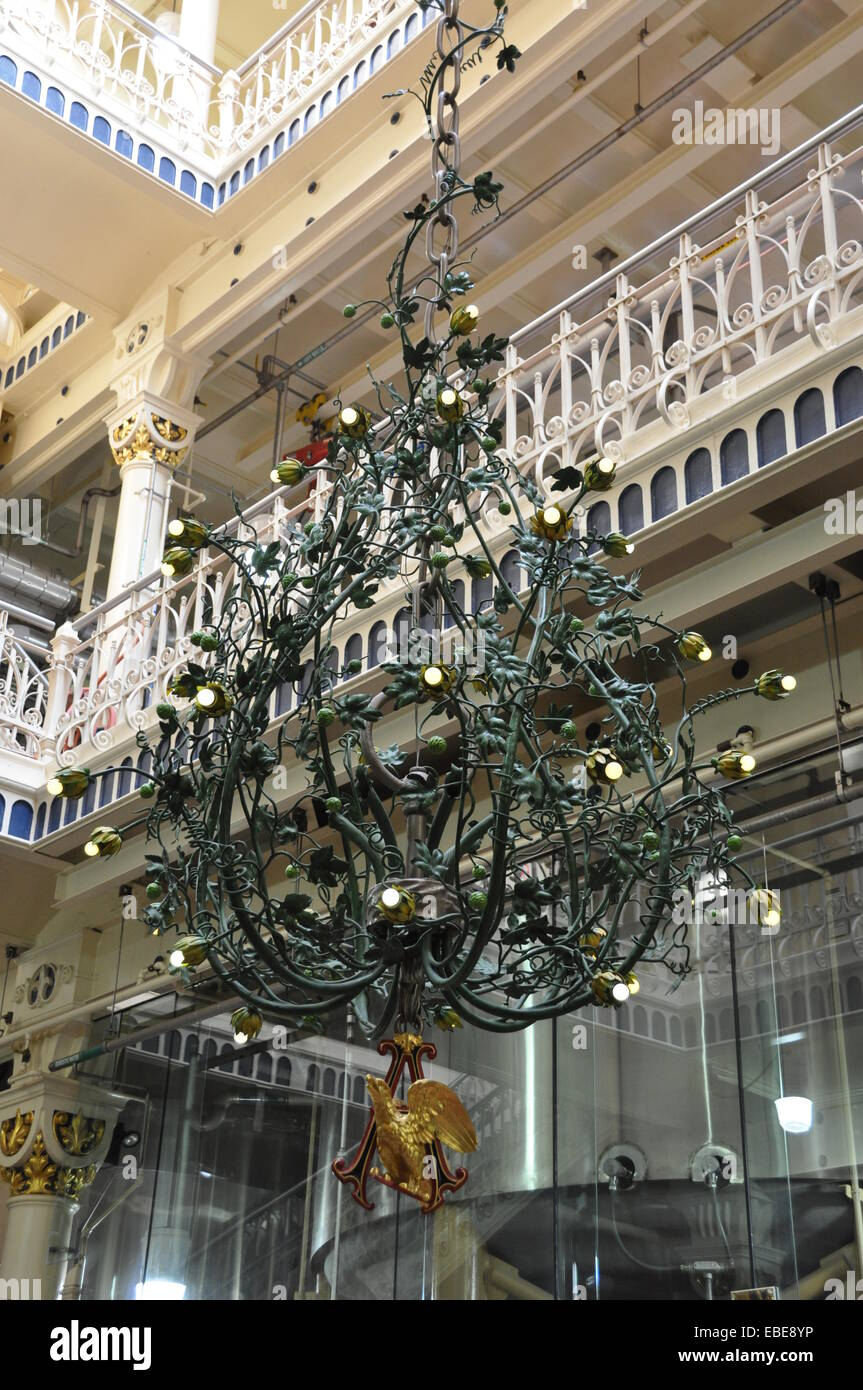 A multi storey hopvine chandelier in the Anheuser-Busch Brewery Brew House, St Louis. - Stock Image