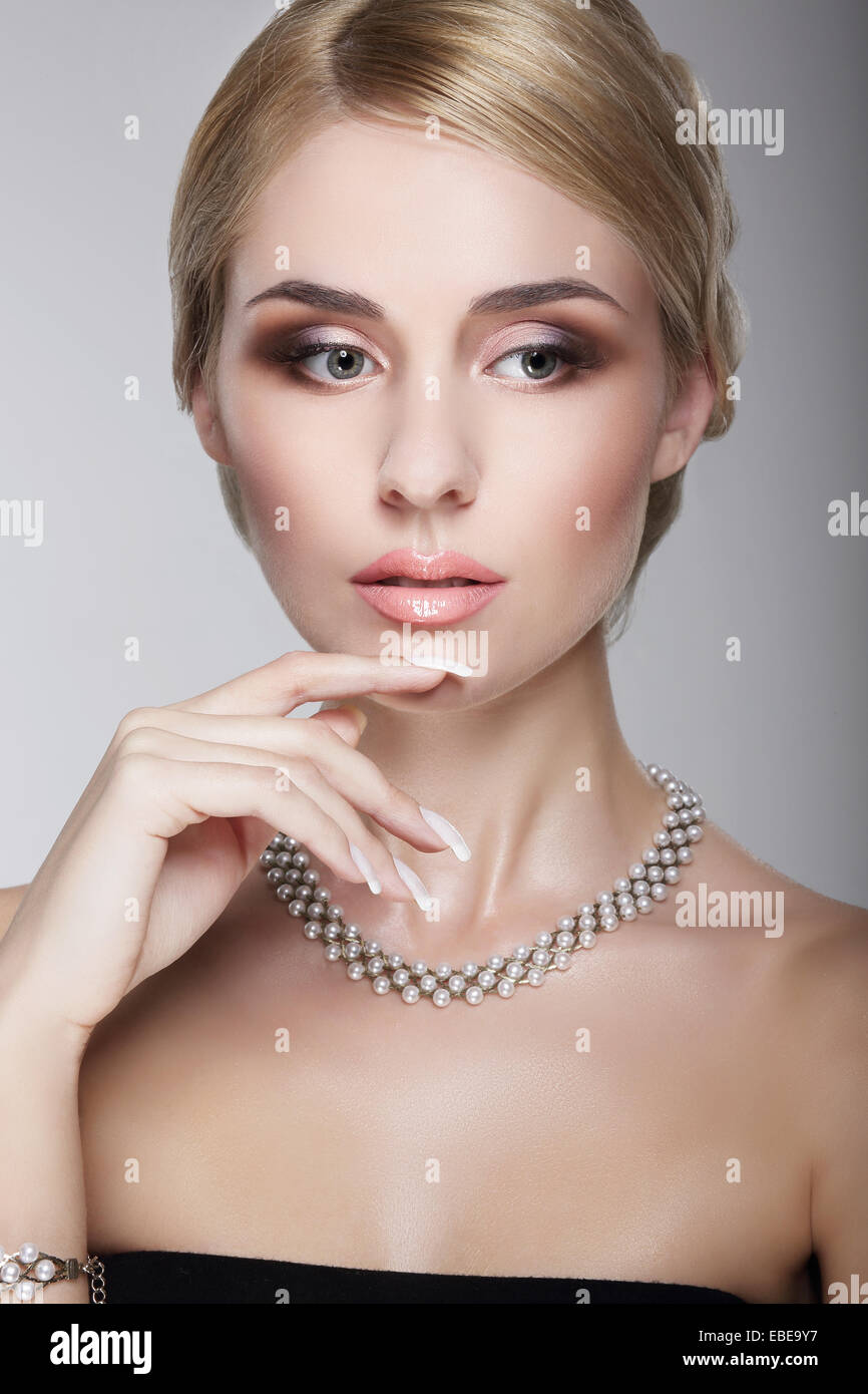 Sophisticated Aristocratic Posh Lady with Pearly Necklace - Stock Image