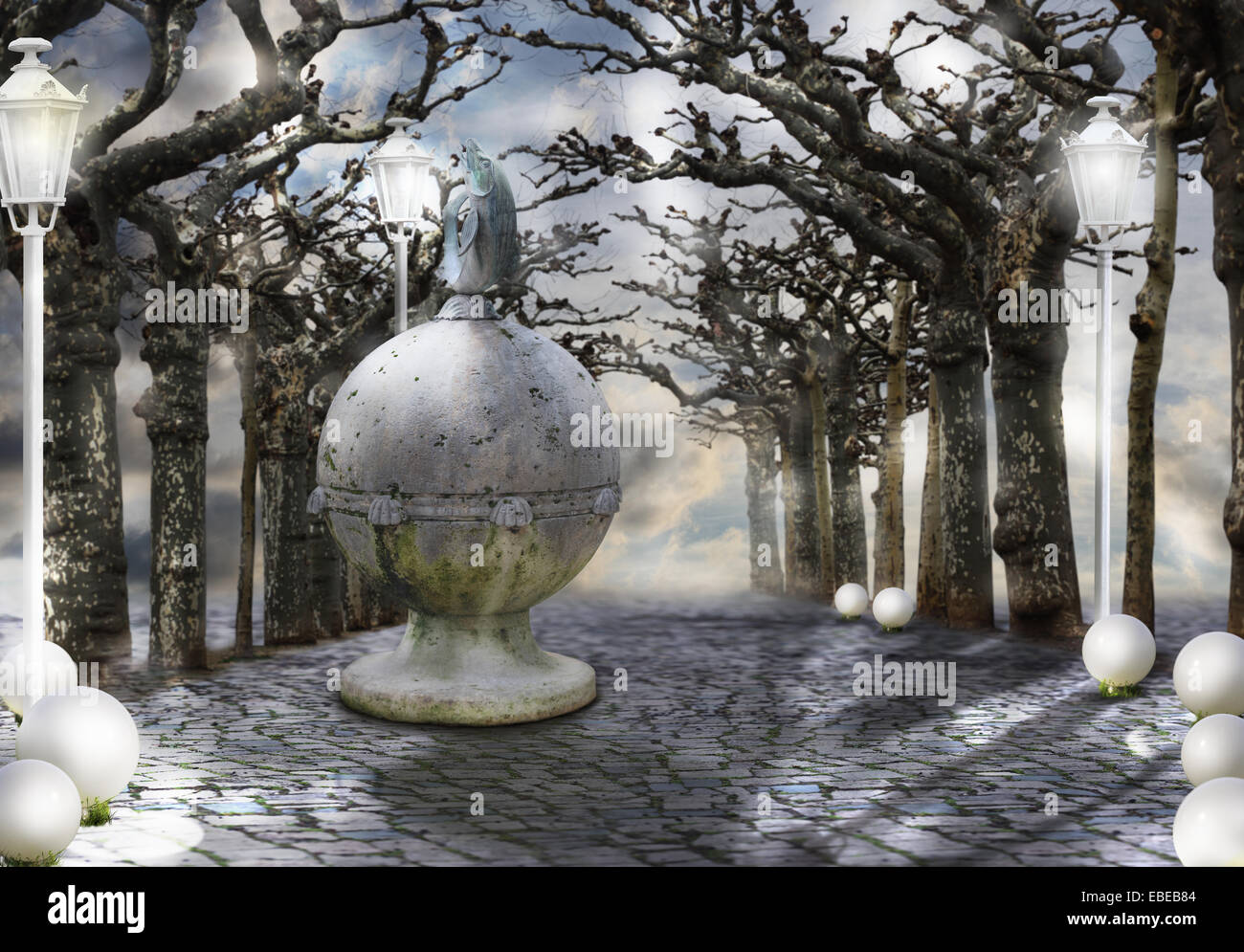 Mysticism. Mystic Alley with Magic Trees in Haze - Stock Image