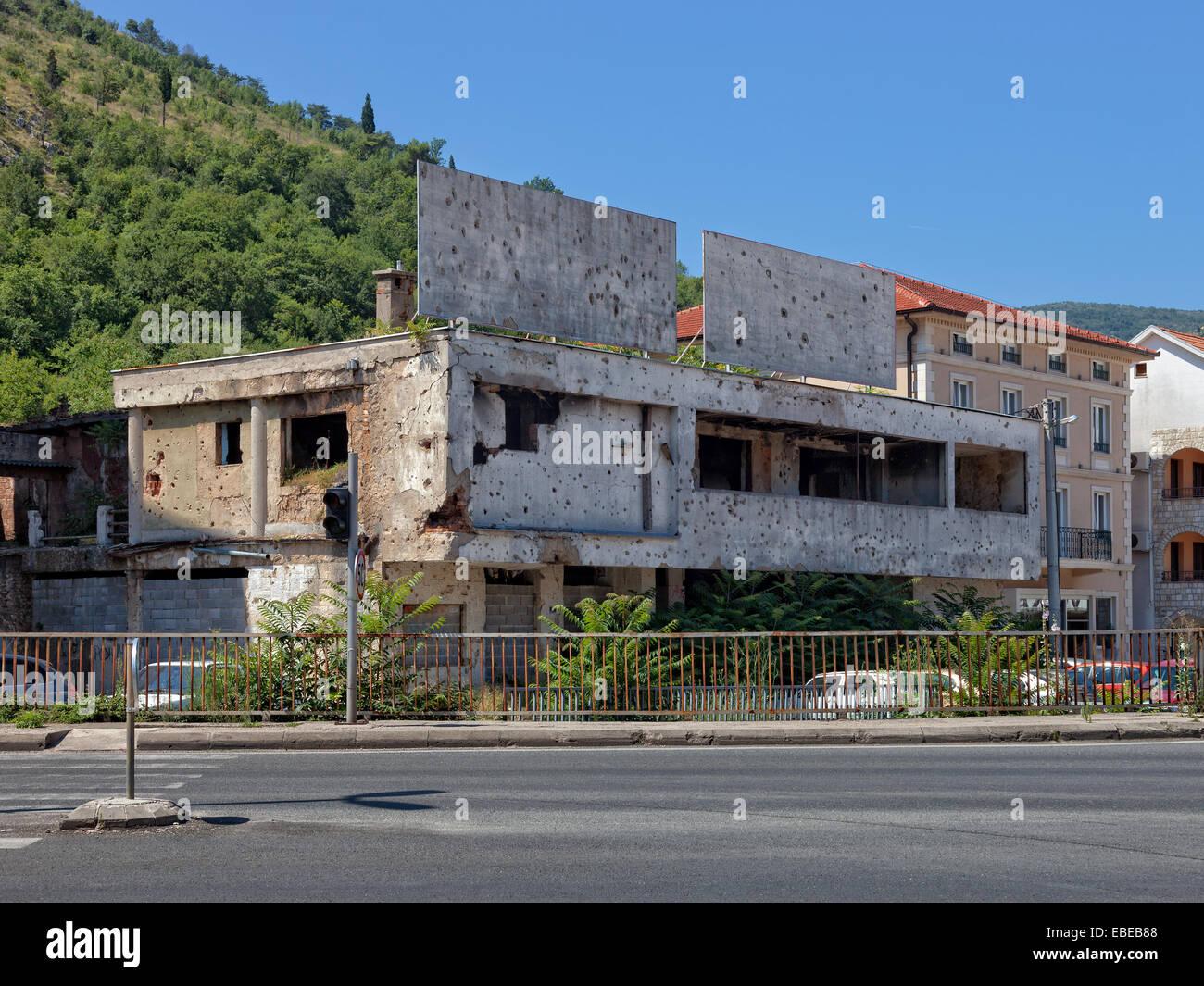 Old destroyed building after war in Mostar, Bosnia and Herzegovina. - Stock Image