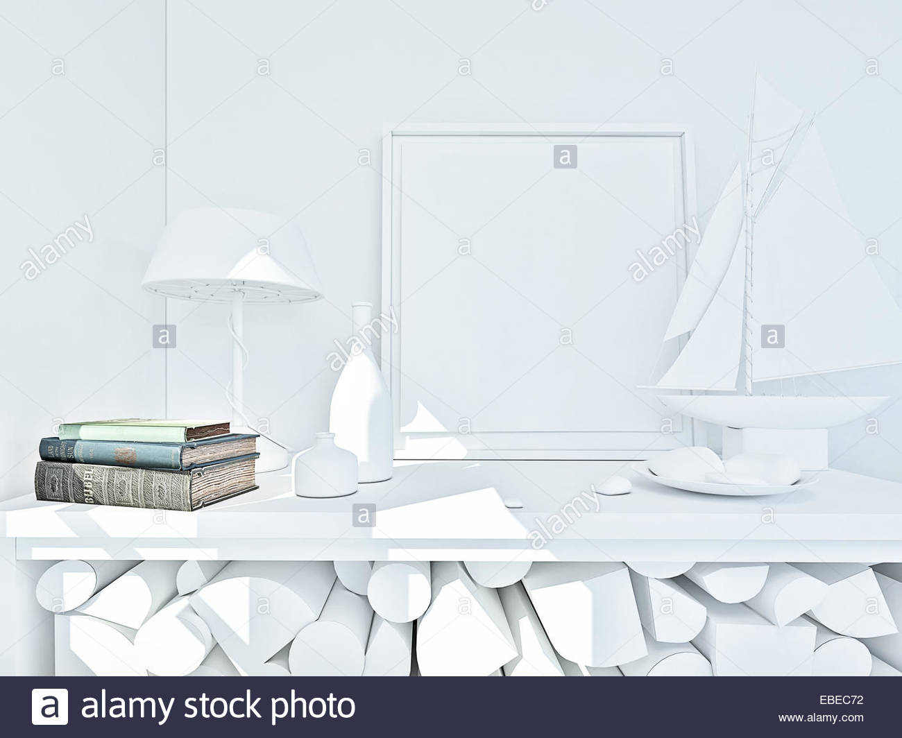 3d clay render of a still life with book in color Stock Photo ...