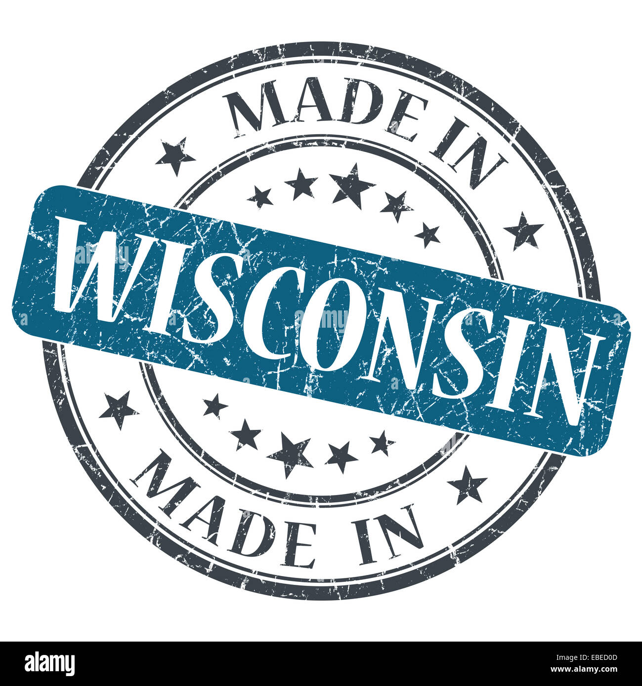 Made In Wisconsin Blue Round Grunge Isolated Stamp