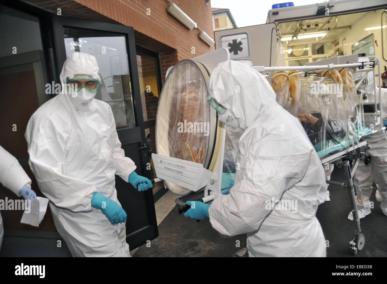 Milan (Italy), simulation of arrival of a passenger infected with the Ebola virus to Sacco Hospital for Infectious - Stock Image