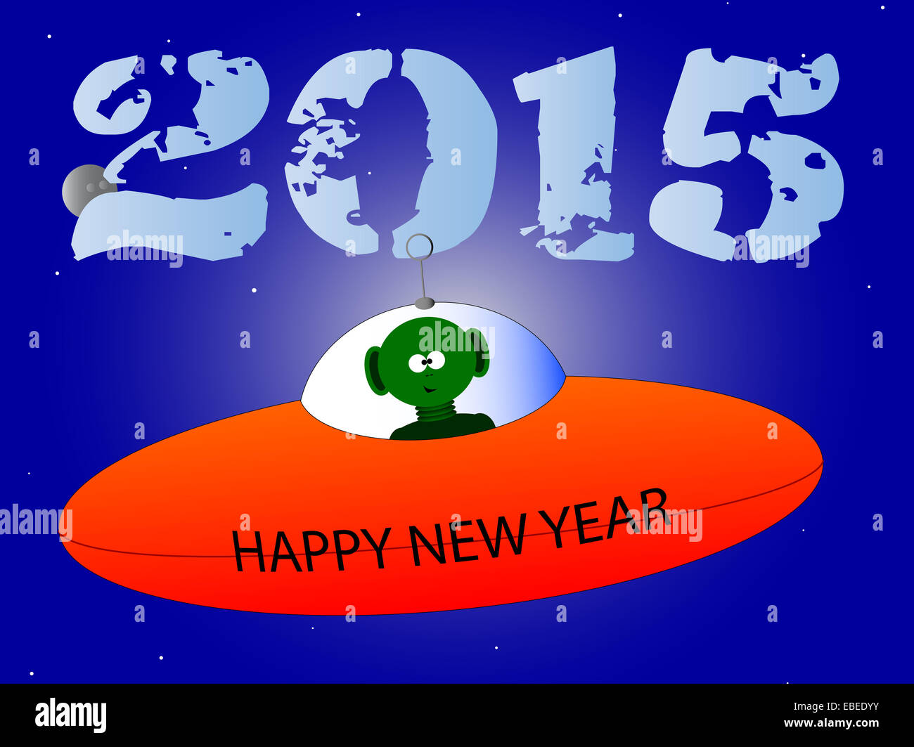 a happy new years message from a flying saucer and alien