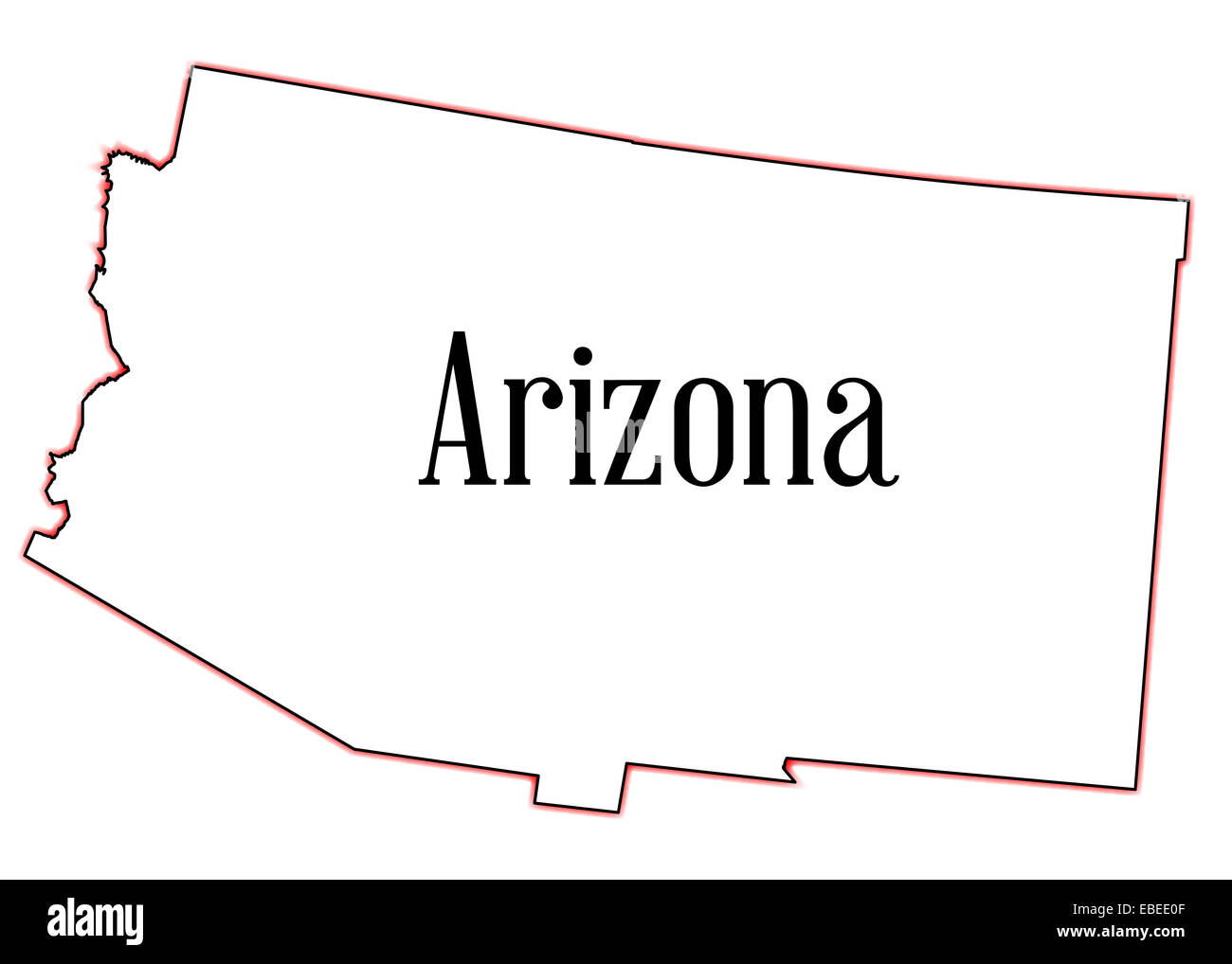 Outline map of the state of Arizona on a white background Stock ...