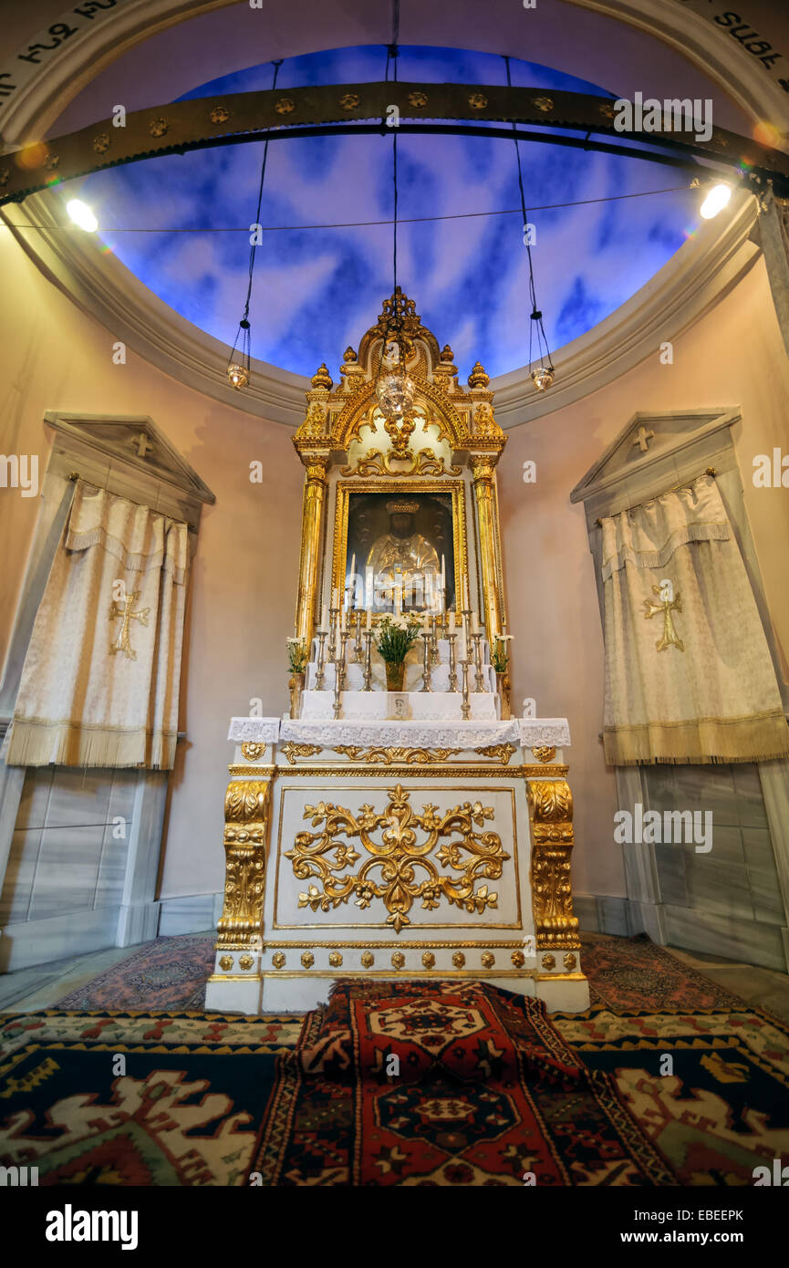 Interior of Surp Takavor Armanian Orthodox church baptism room in Kadikoy, Istanbul, built 1814. - Stock Image