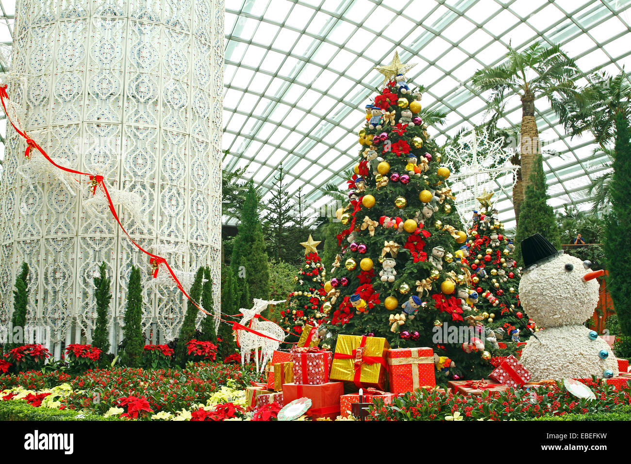 Singapore. 29th November, 2014. The Flower Dome becomes a winter wonderland at Gardens by the Bay, Singapore Credit: Stock Photo