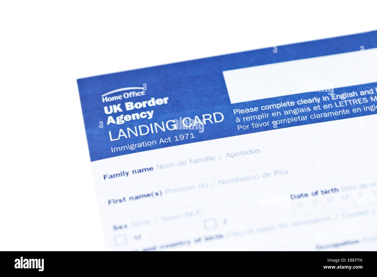 UK border agency landing card immigration form Stock Photo: 75922469 ...