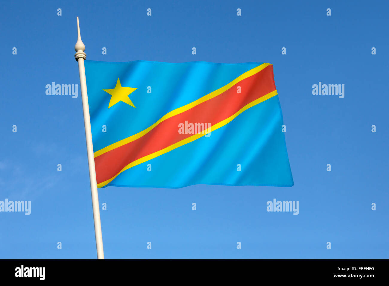 Flag of the Democratic Republic of the Congo (Congo-Kinshasa, DROC) - Stock Image