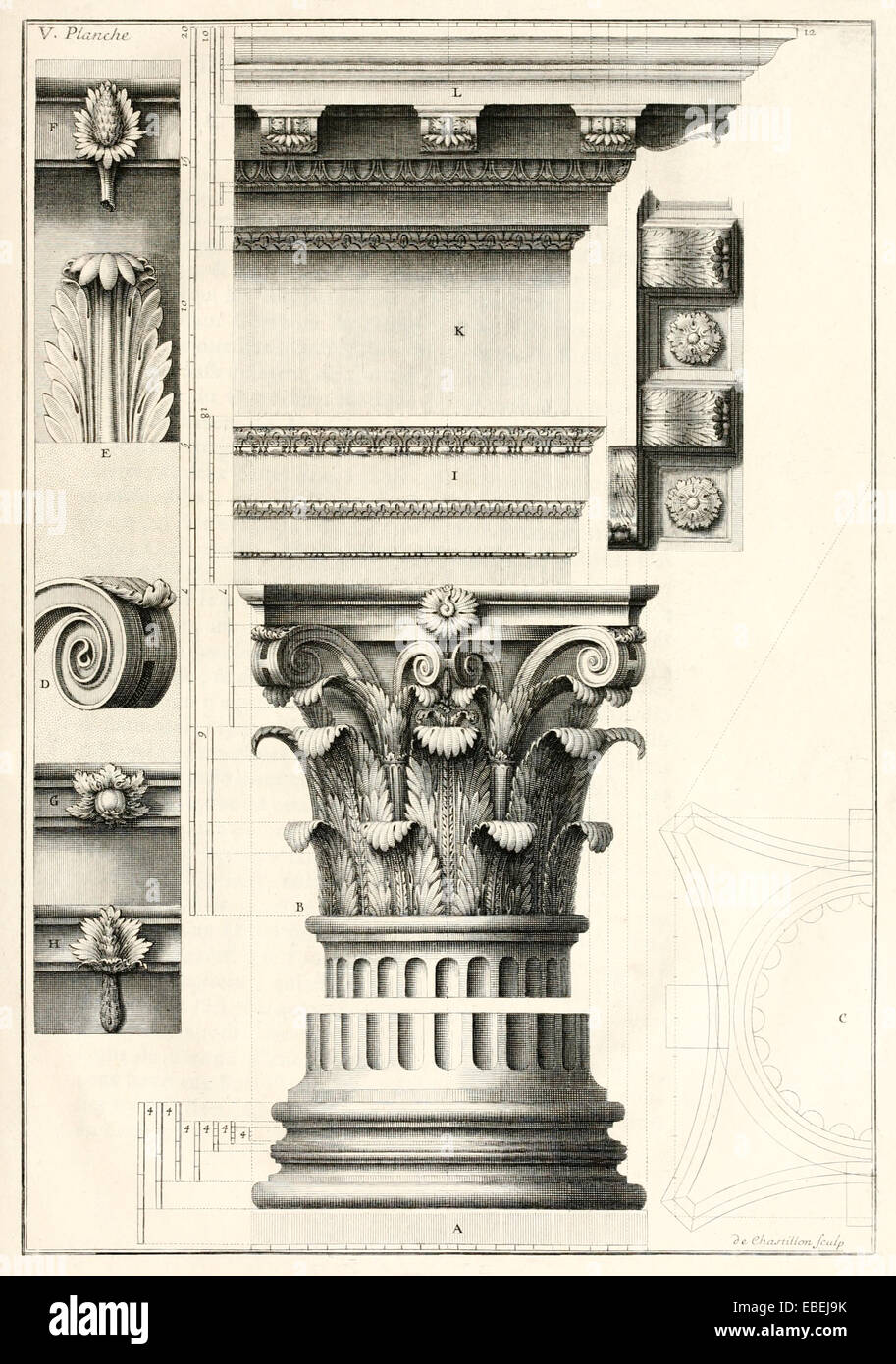 Corinthian order column by Claude Perrault, French Renaissance architect illustration. See description for more - Stock Image