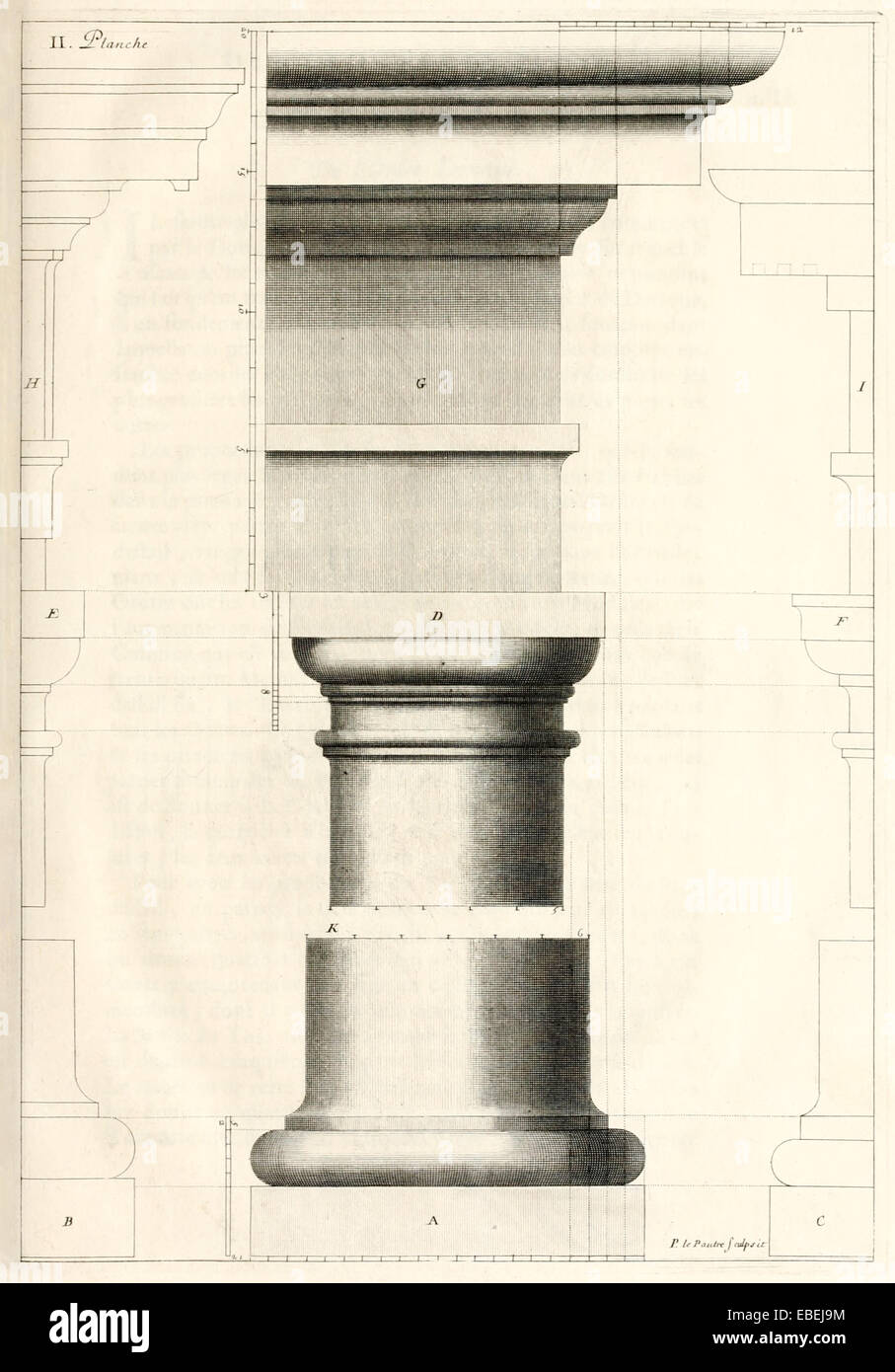 Tuscan order column by Claude Perrault, French Renaissance architect illustration. See description for more information. - Stock Image