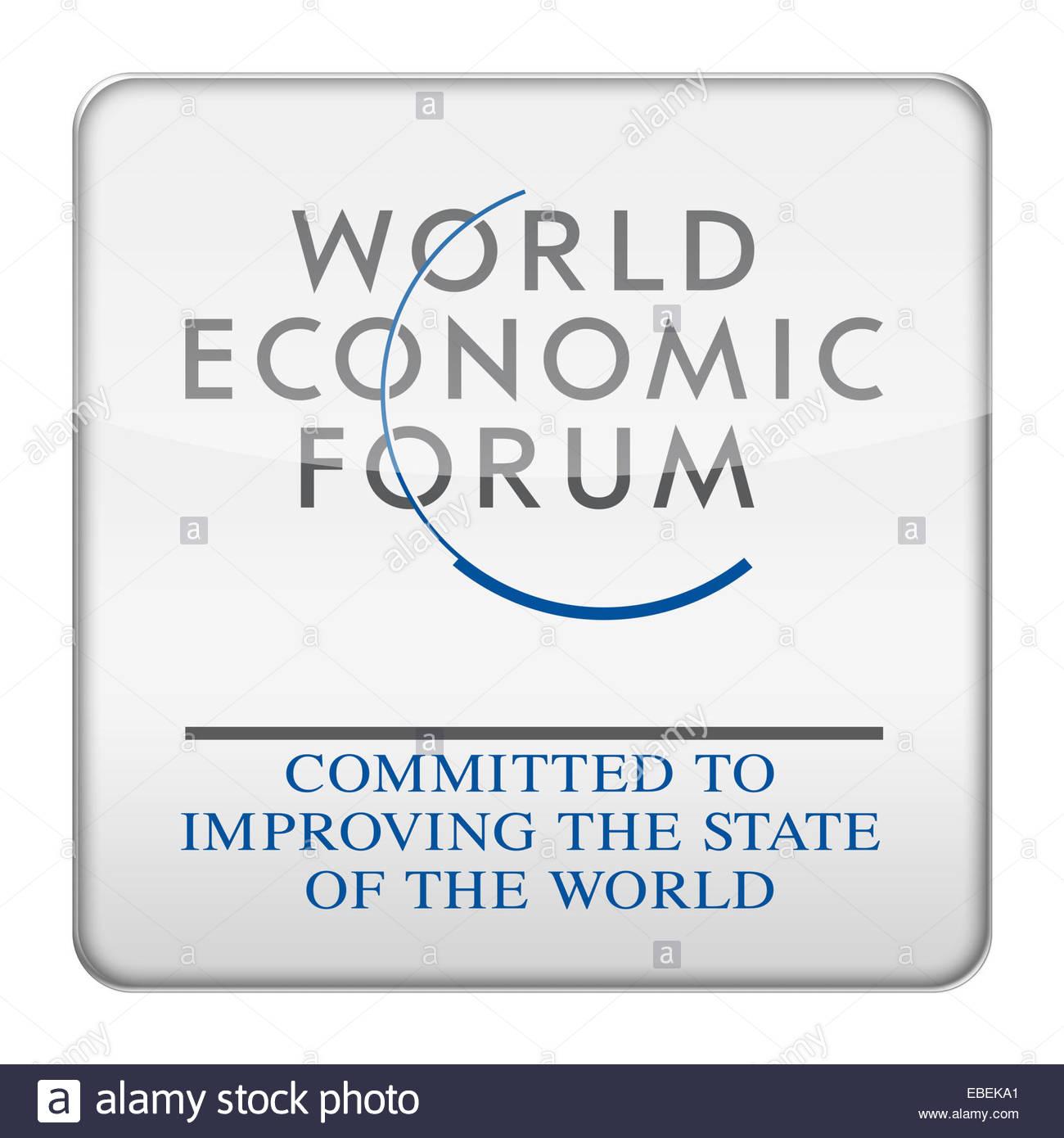 World Economic Forum WEF logo icon - Stock Image