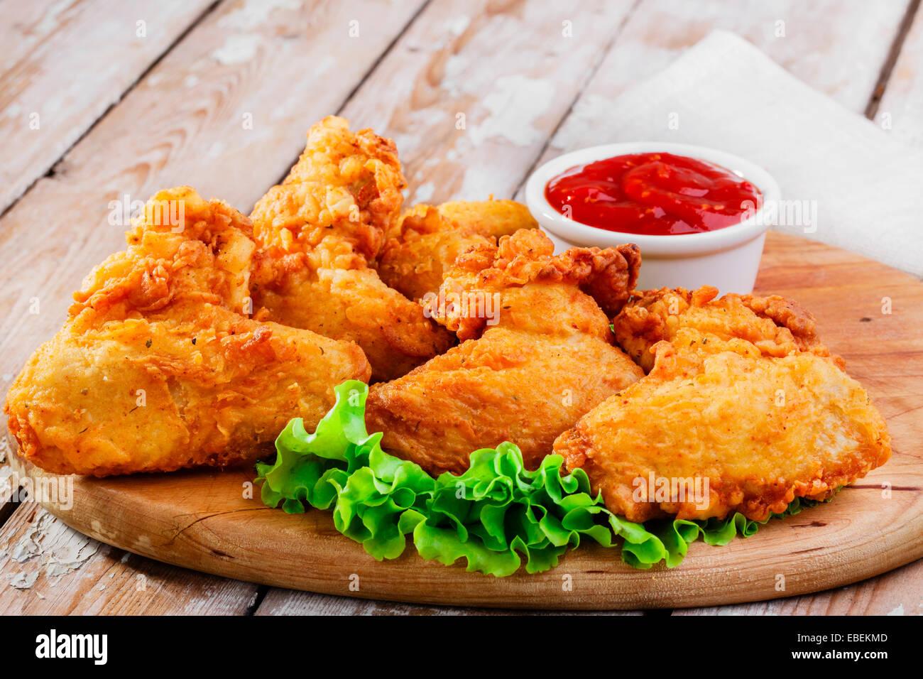 fried chicken wings in batter Stock Photo