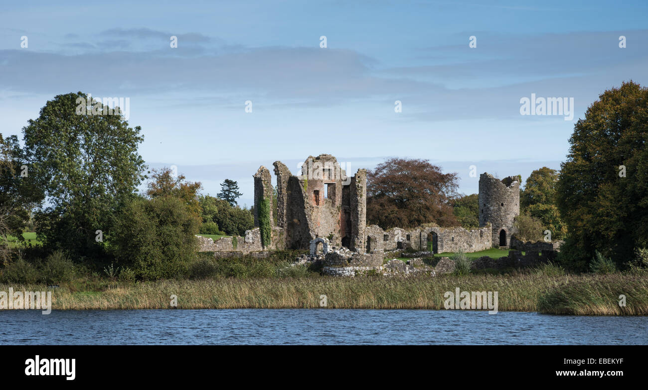Old Crom Castle ruins, County Fermanagh, Northern Ireland. - Stock Image