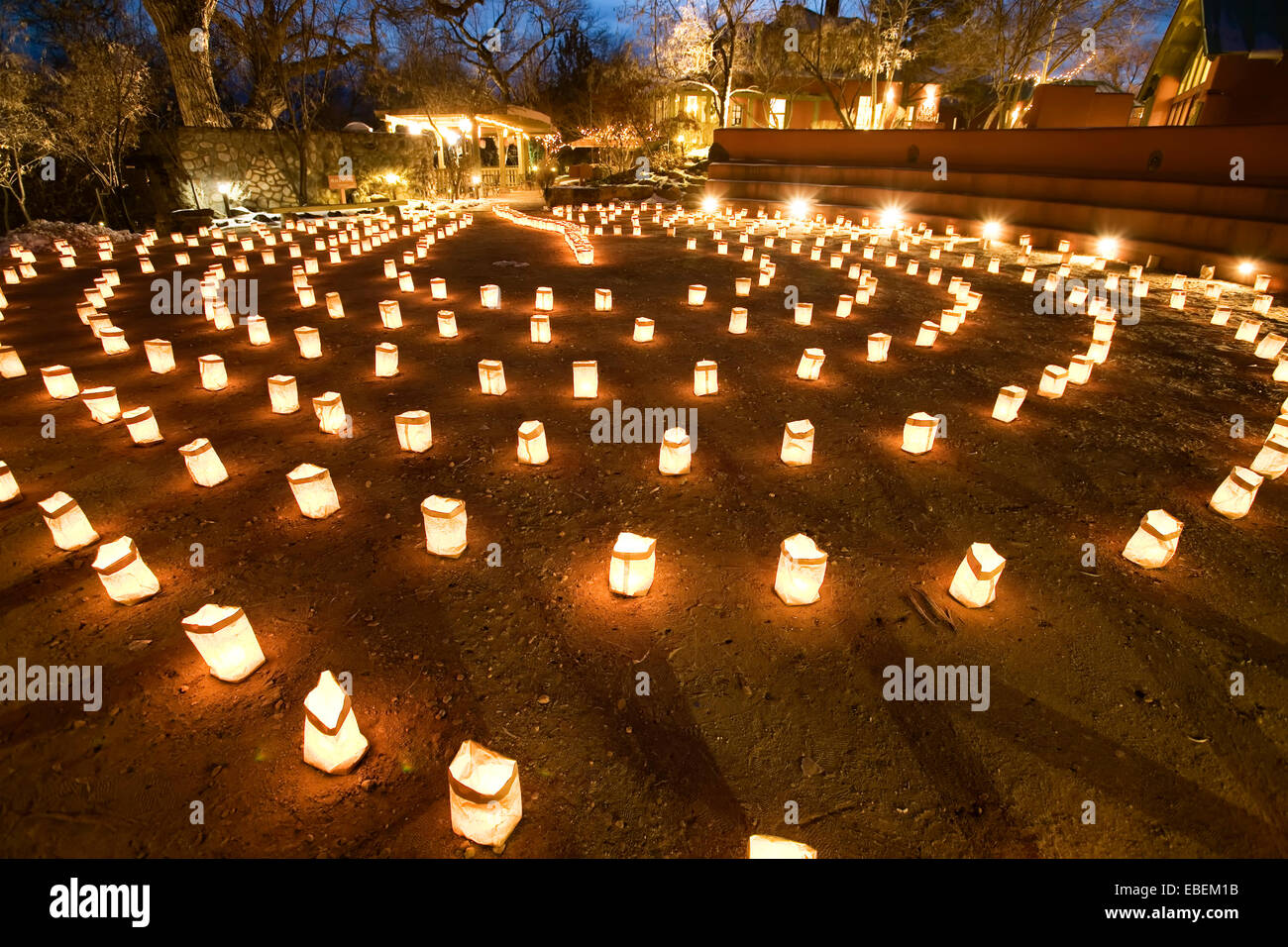 Farolitos Labyrinth, Sunrise Springs Resort, Santa Fe, New Mexico USA - Stock Image