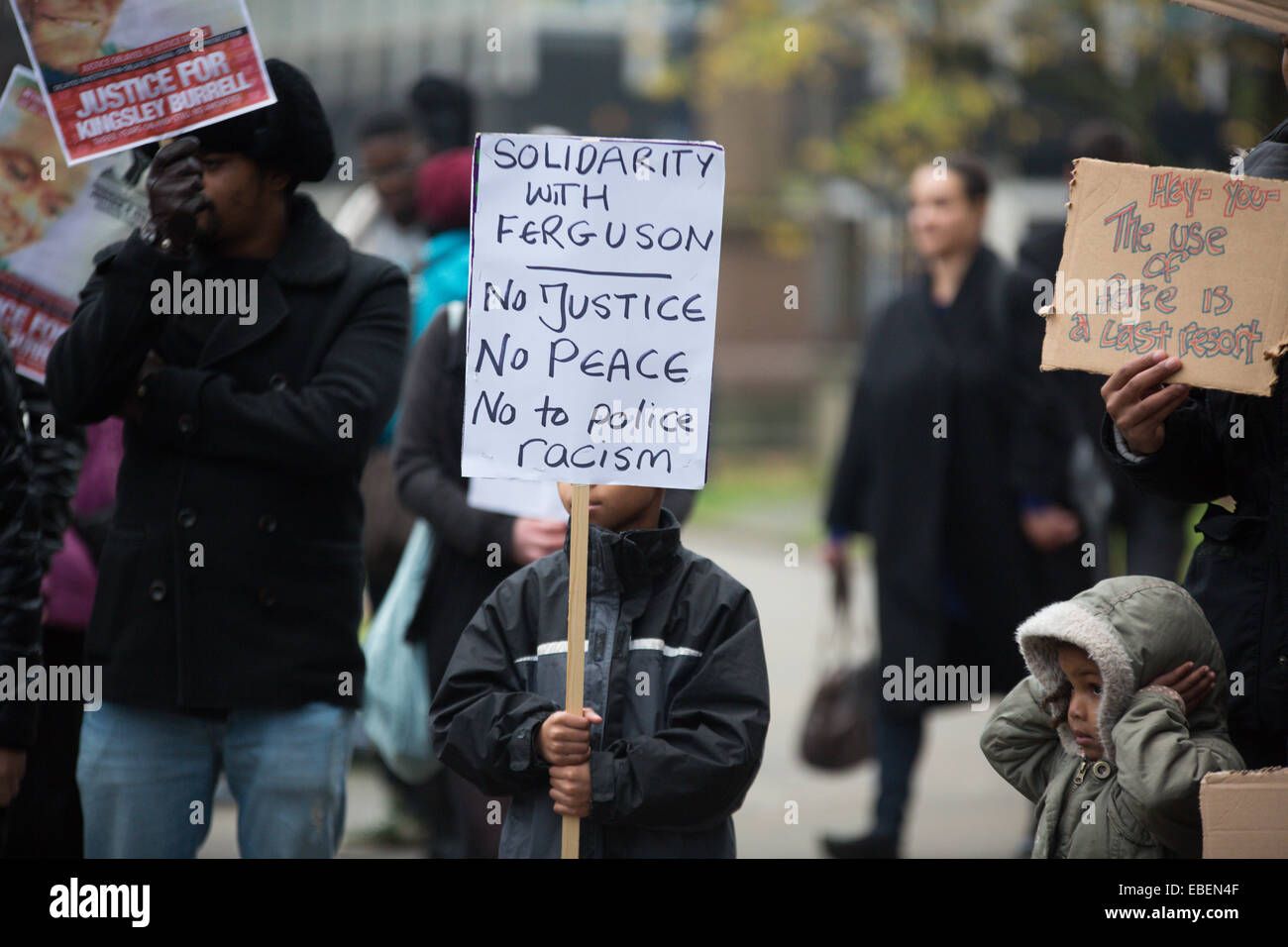Birmingham, UK. 29 November, 2014. Protesters rally outside Birmingham Cathedral in the City Centre to protest against - Stock Image
