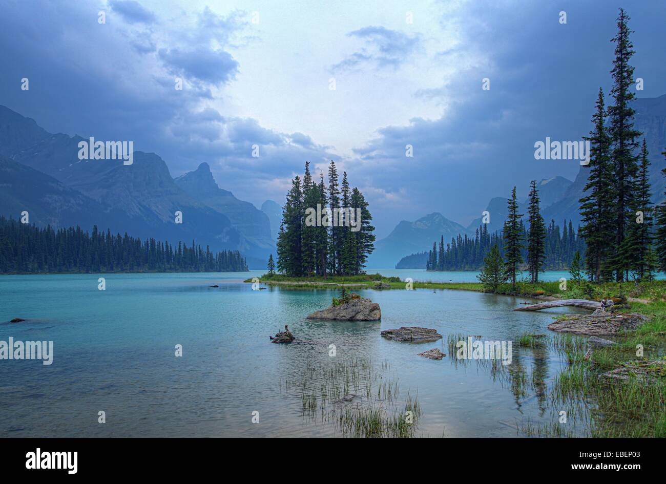 Spirit Island in Jasper National Park in the Canadian Rockies - Stock Image