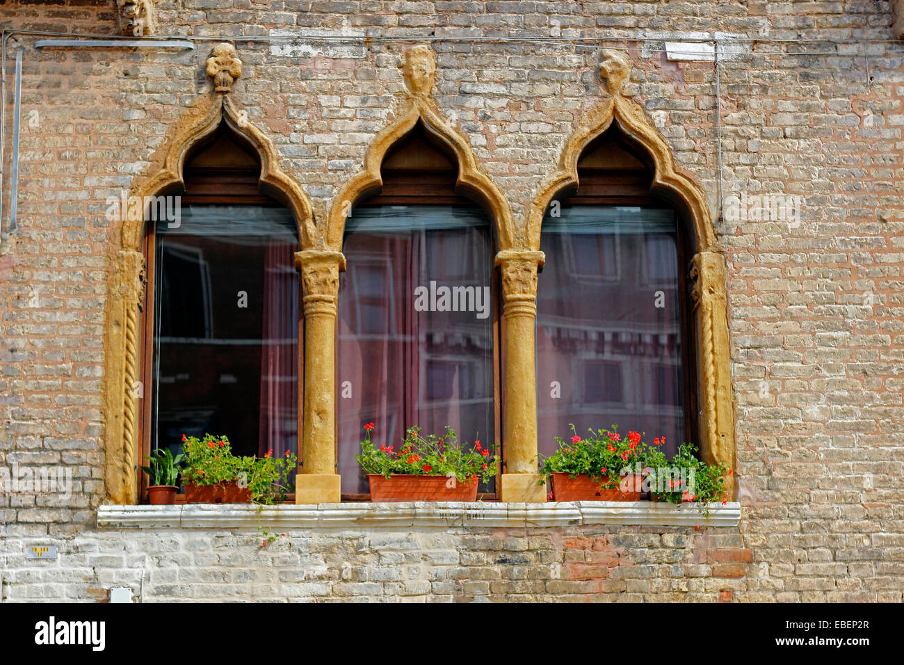 Venice Italy Castello Palladian windows with Moorish influence - Stock Image