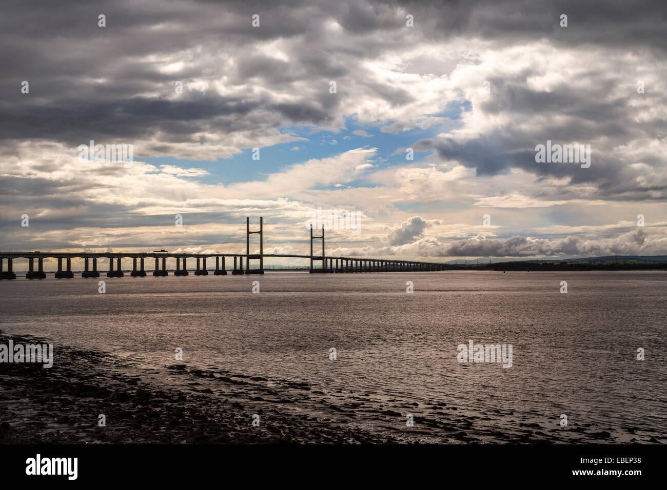 Severn Bridge, second crossing for River Severn, England, UK - Stock Image