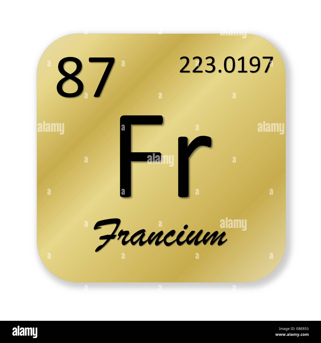 Black Francium Element Into Golden Square Shape Isolated In White