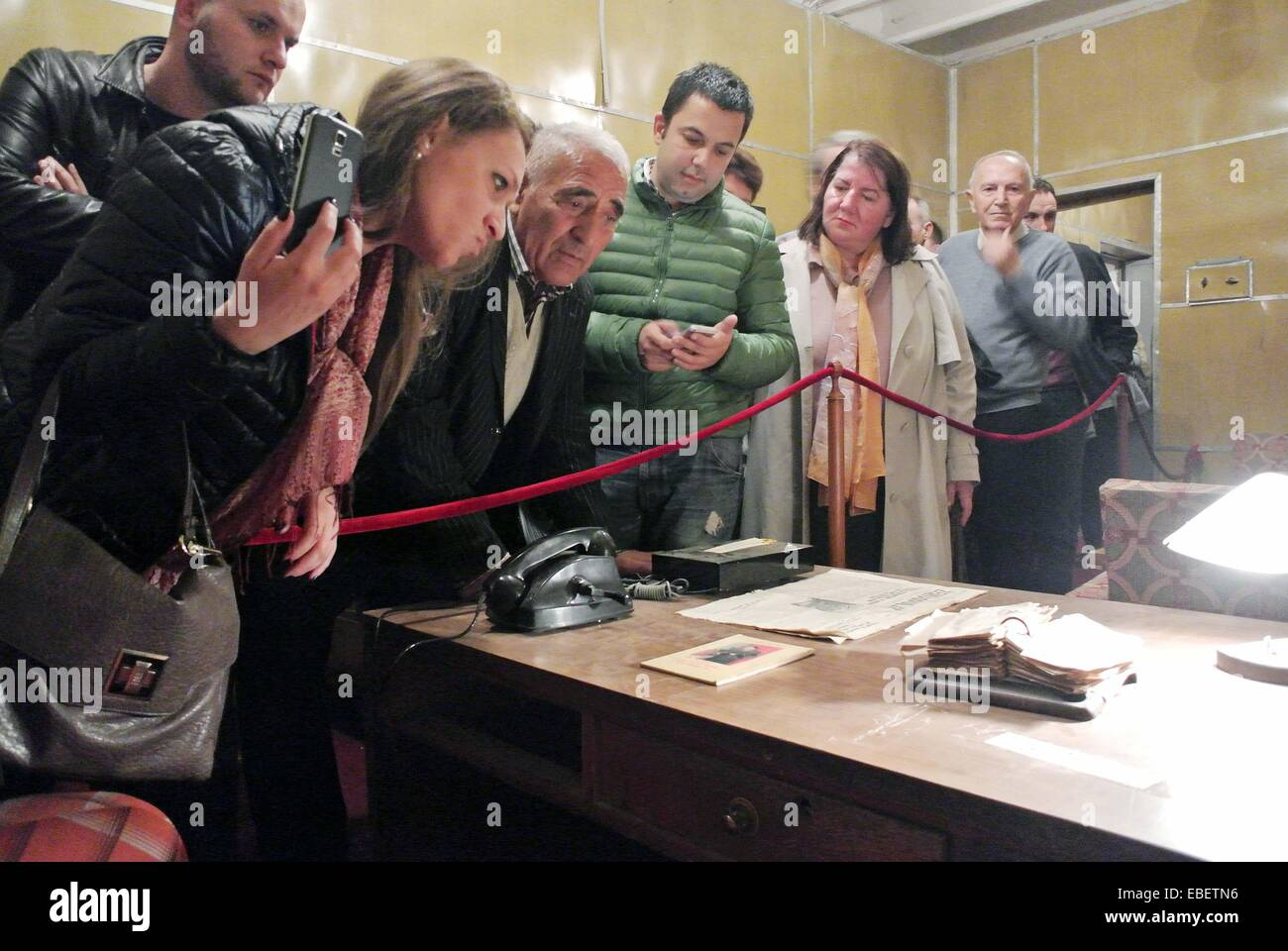 Tirana. 29th Nov, 2014. People visit the anti-nuclear bunker built by former Albanian leader Enver Hoxha, east of - Stock Image