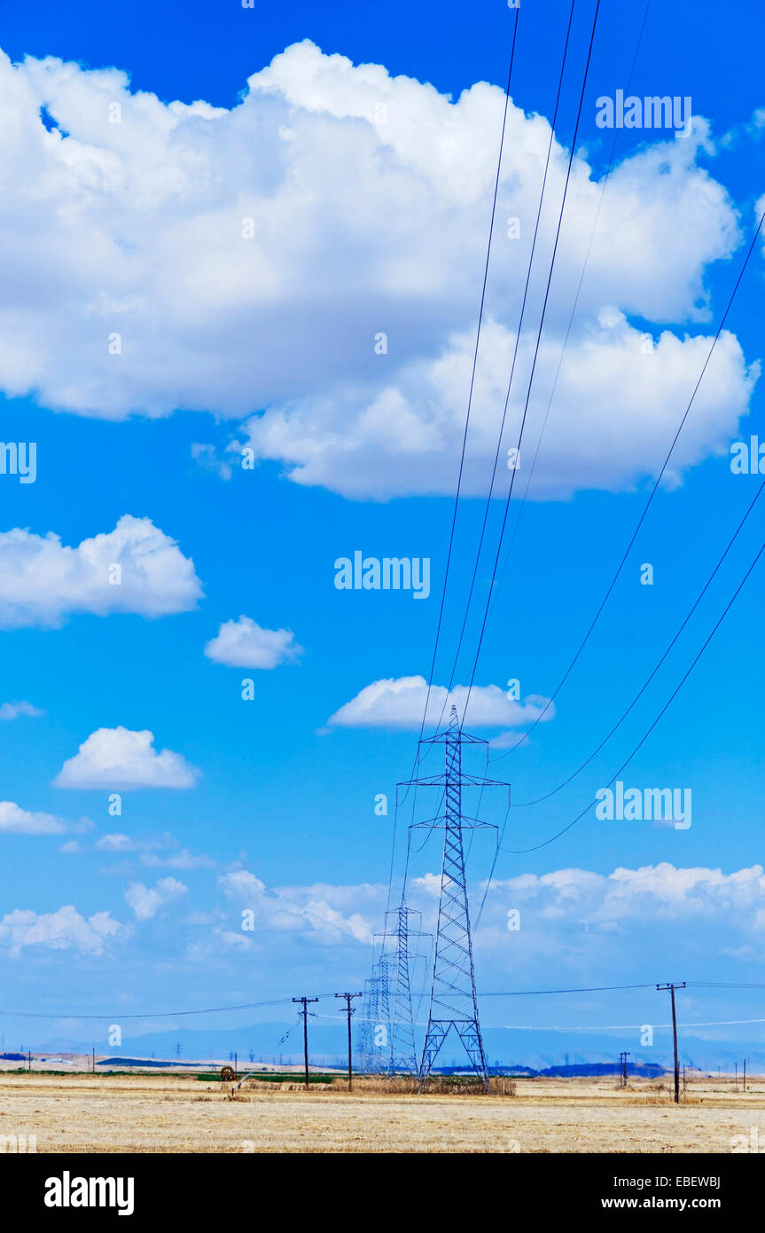 High-voltage power line in Thessaly, Greece - Stock Image