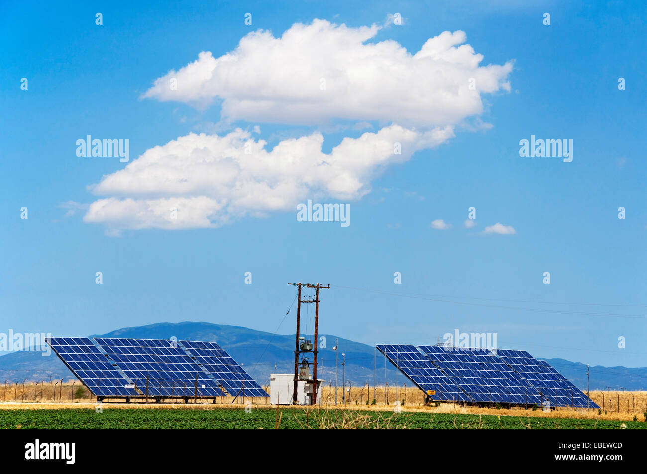 Solar power modules in Thessaly, Greece - Stock Image