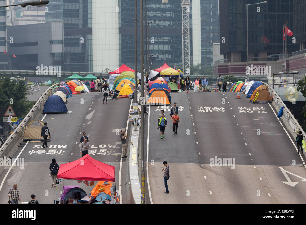 Street blockades in Hong Kong in 2014 by Umbrella Movement - Stock Image