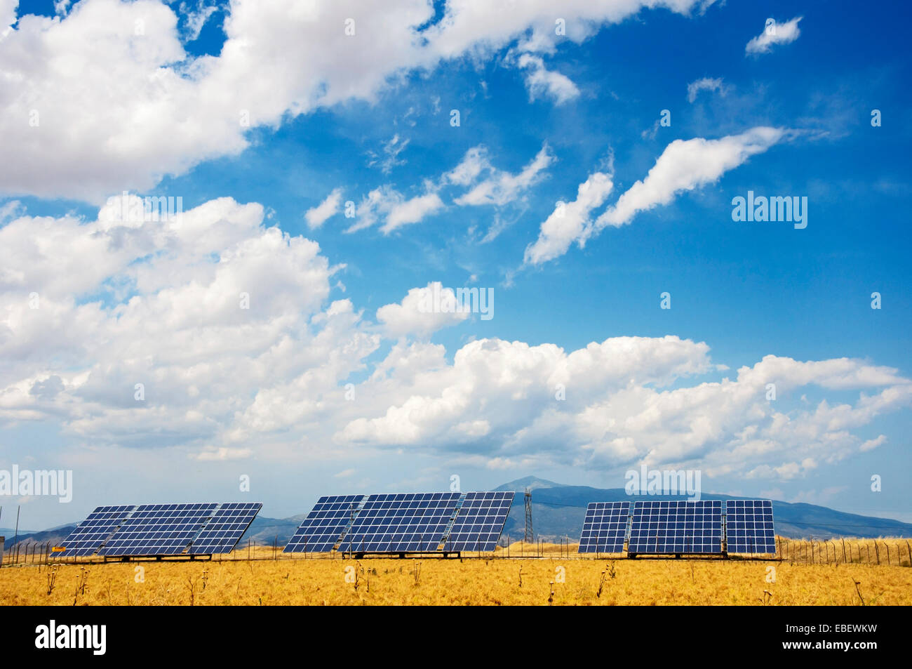 Solar power modules in a corn field in Thessaly, Greece - Stock Image