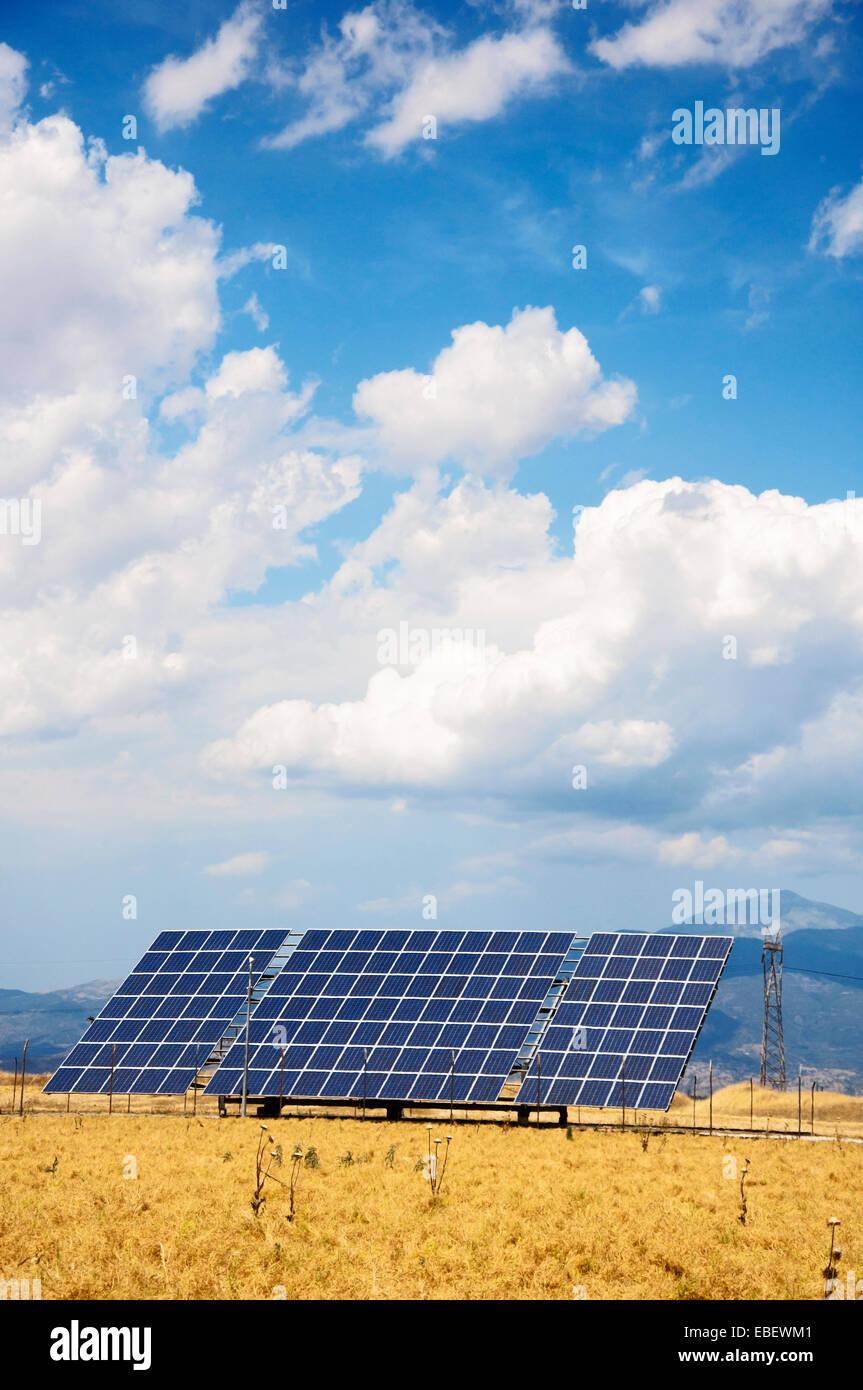 Solar power module in a corn field in Thessaly, Greece - Stock Image