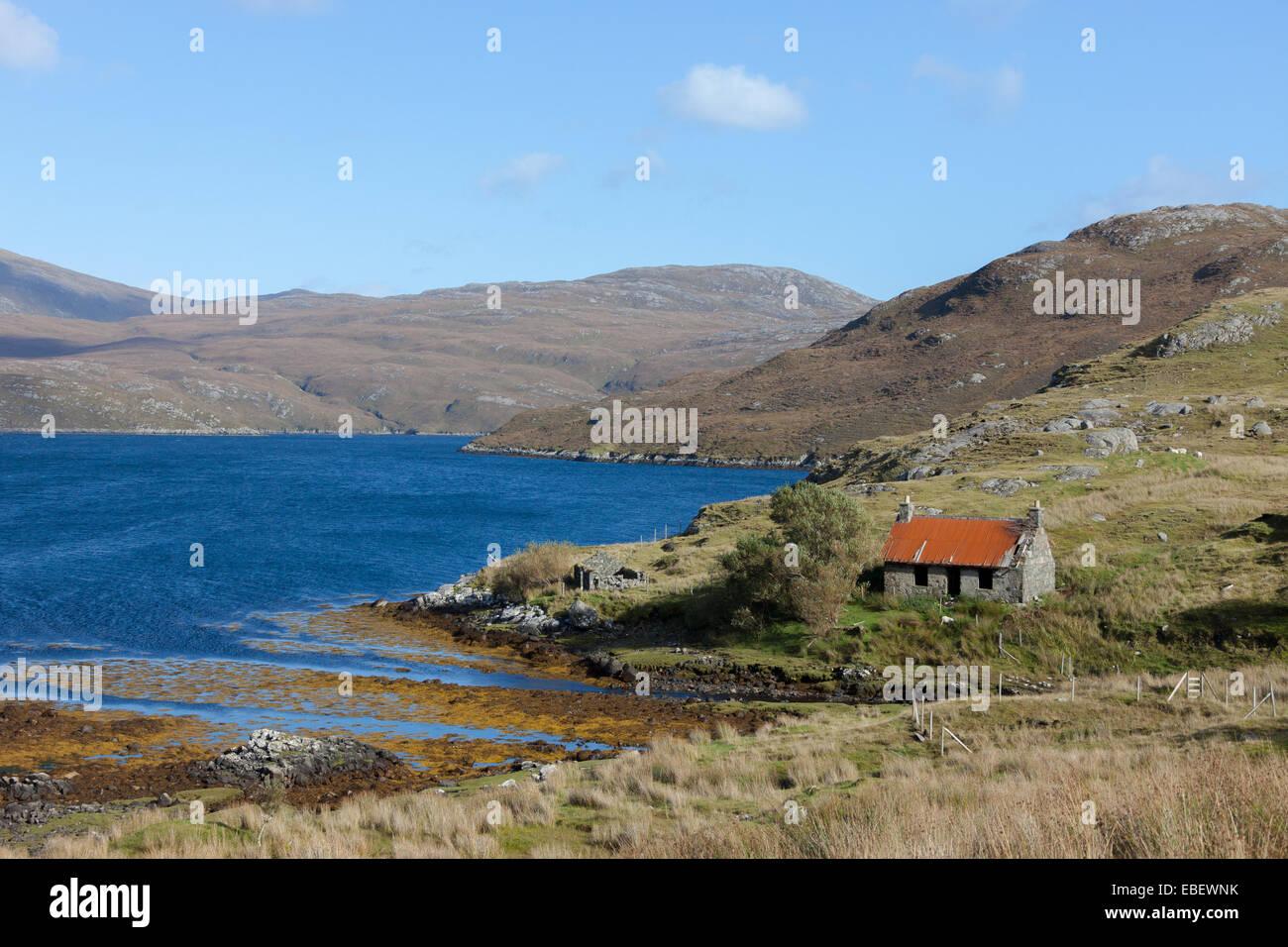 Abandoned cottage, Isle of Lewis, Outer Hebrides, Scotland - Stock Image
