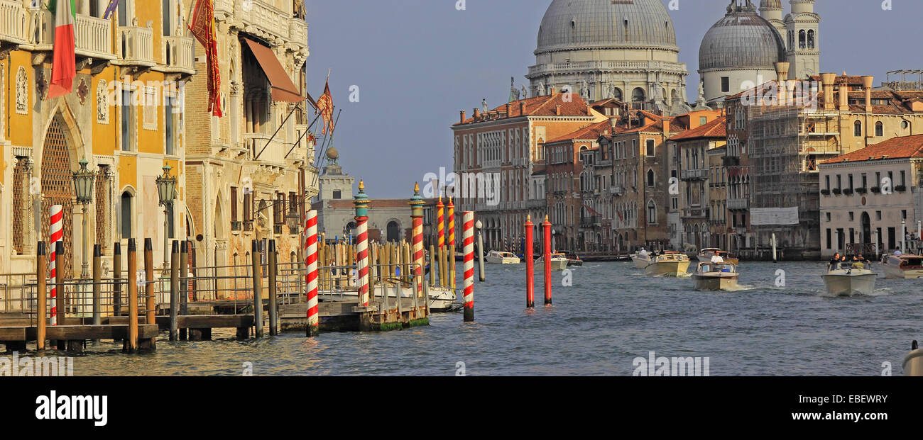 Venice Italy Grand Canal architecture from Academia Bridge - Stock Image