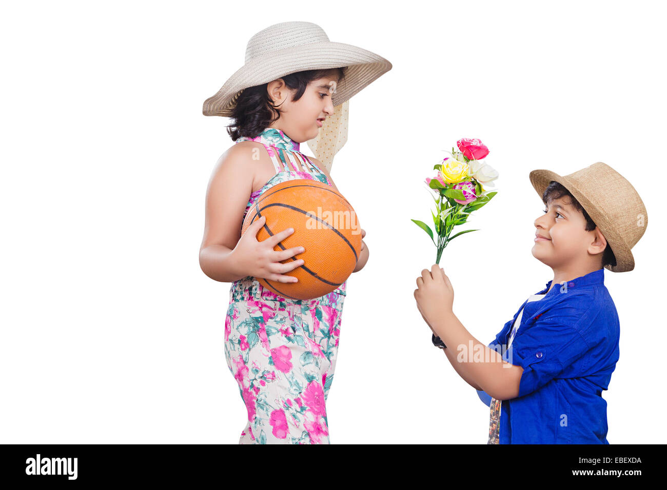 indian childern couple  Proposing - Stock Image