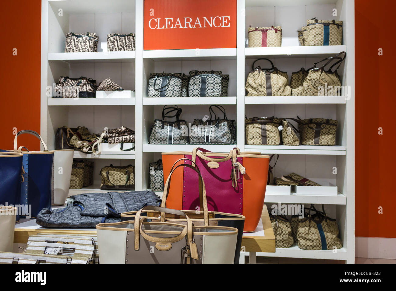 bd85e6621a Orlando Florida Premium Outlets shopping Coach Factory leather goods  display sale women s handbags inside clearance promotion